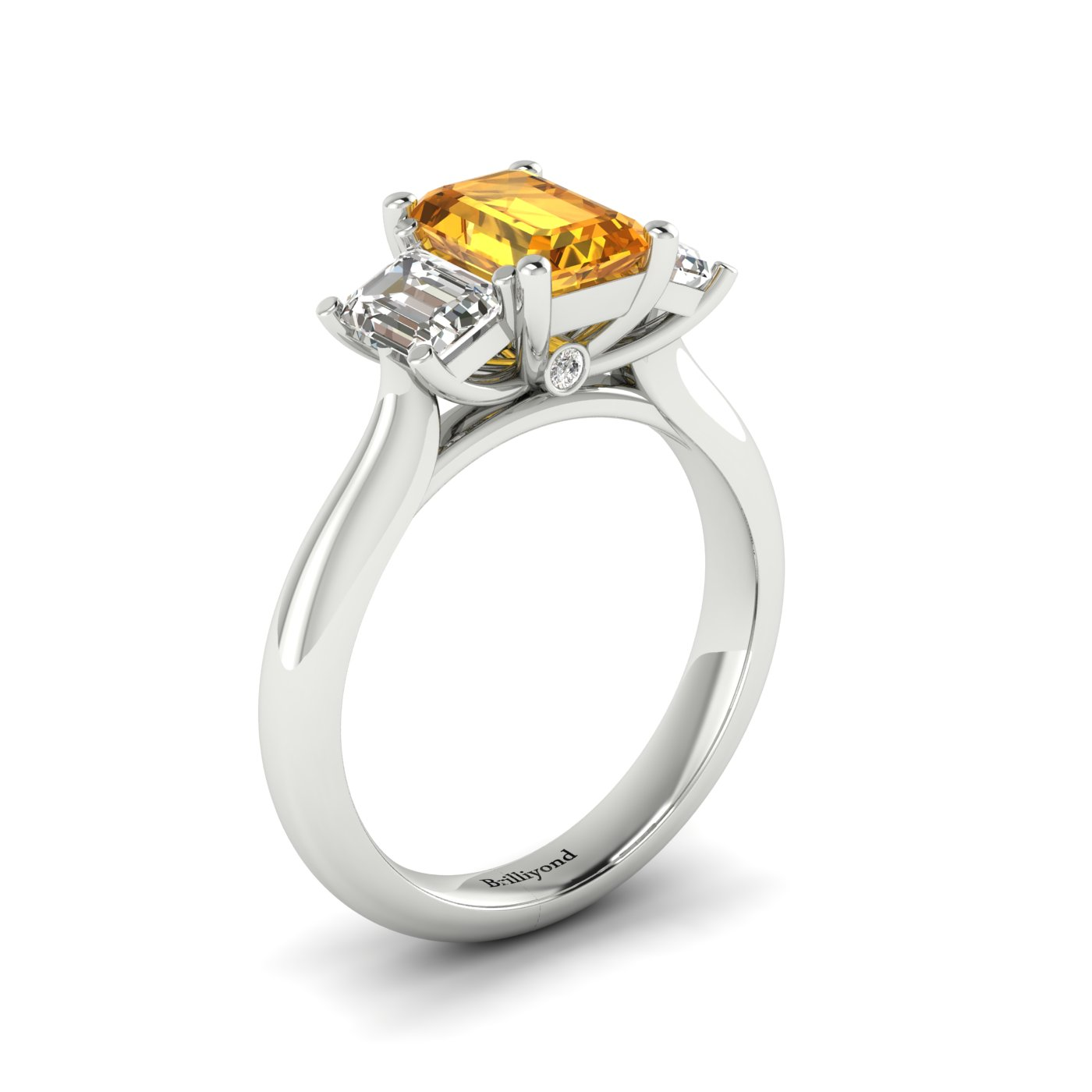 Yellow Sapphire White Gold Emerald Cut Engagement Ring Blanche_image1
