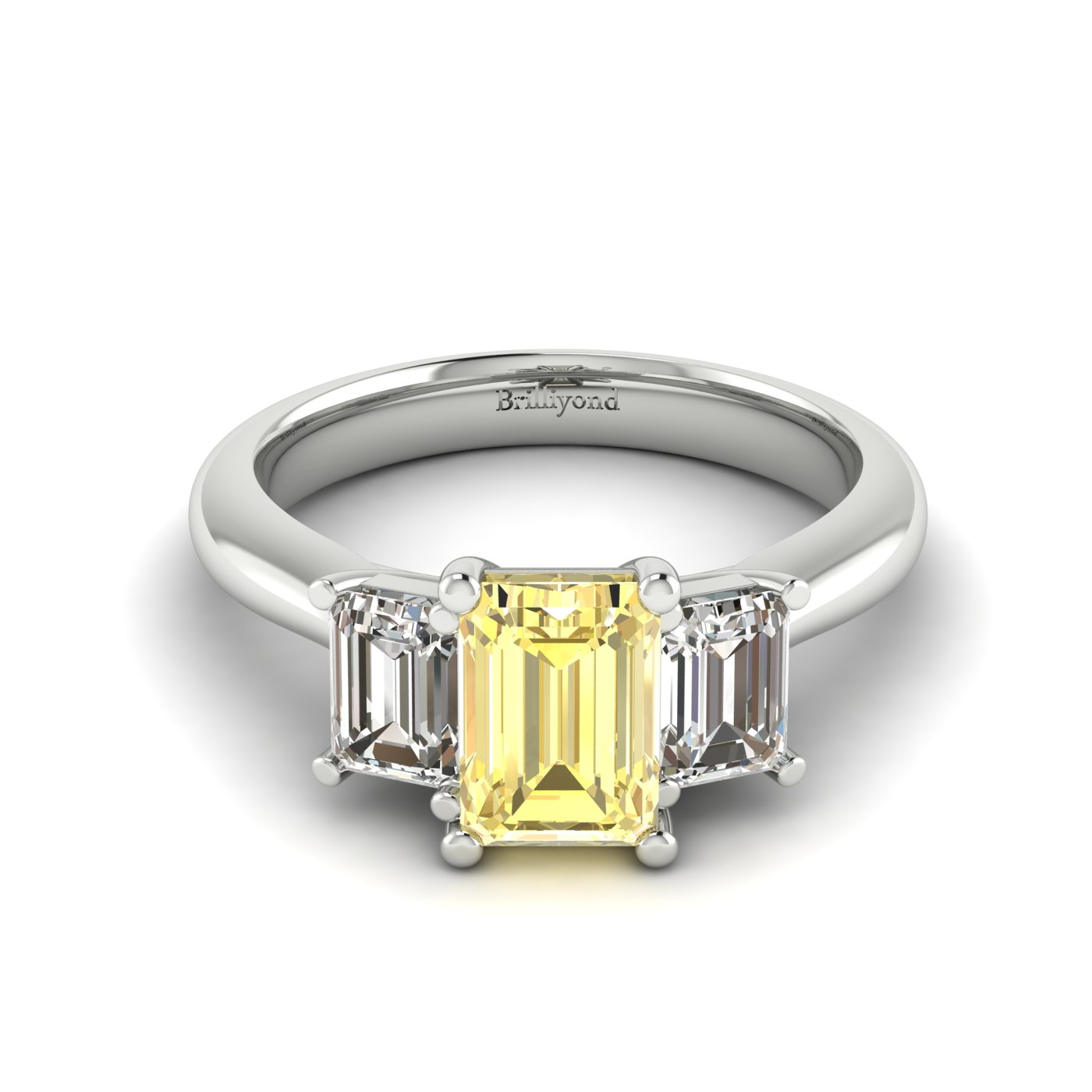 Yellow Sapphire White Gold Emerald Cut Engagement Ring Blanche_image2