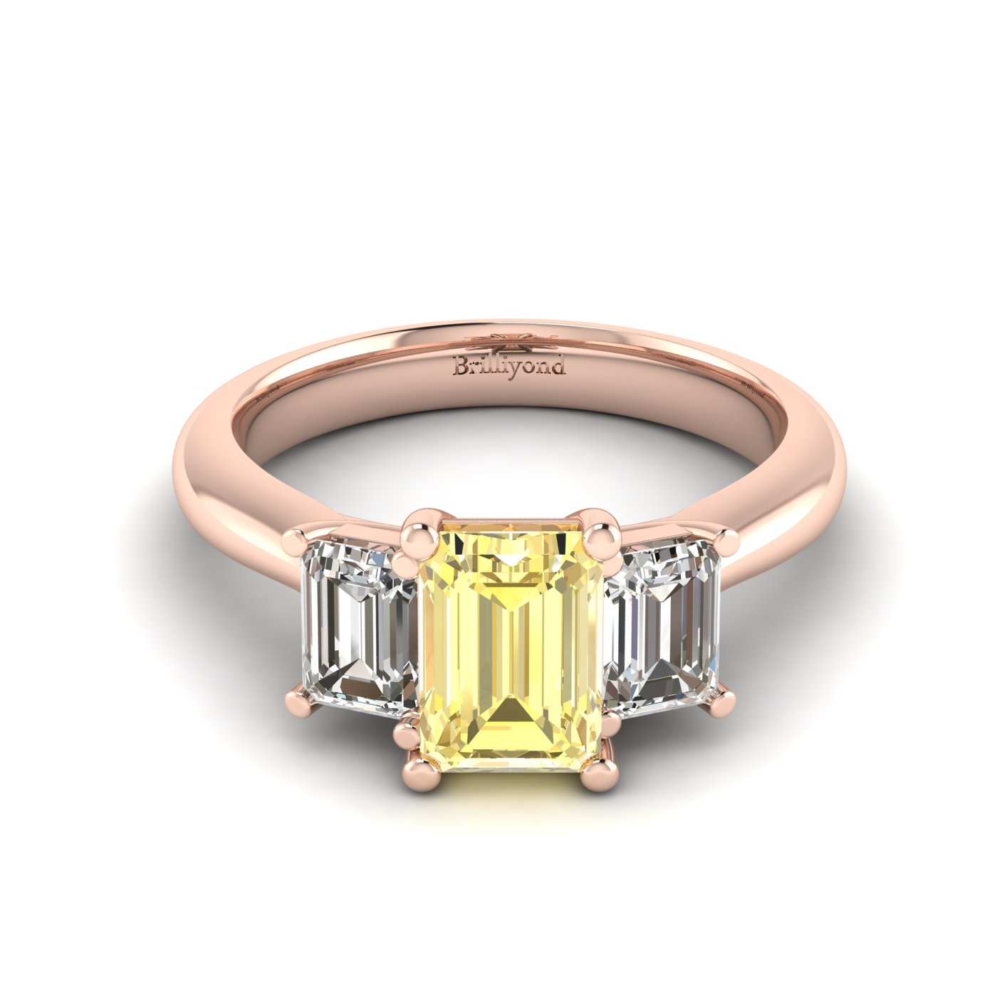 Yellow Sapphire Rose Gold Emerald Cut Engagement Ring Blanche_image1