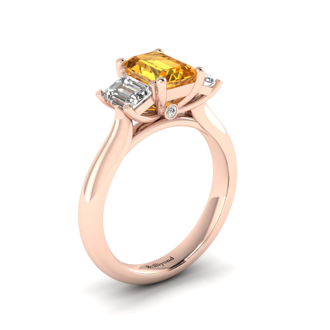 Yellow Sapphire Rose Gold Emerald Cut Engagement Ring Blanche_image2