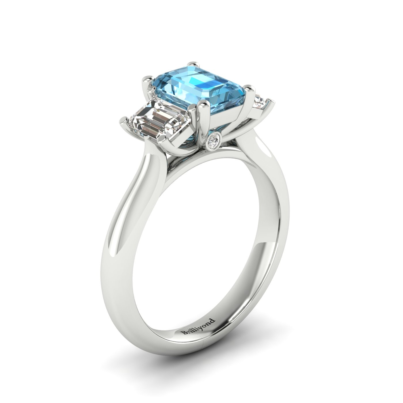 Aquamarine White Gold Emerald Cut Engagement Ring Blanche