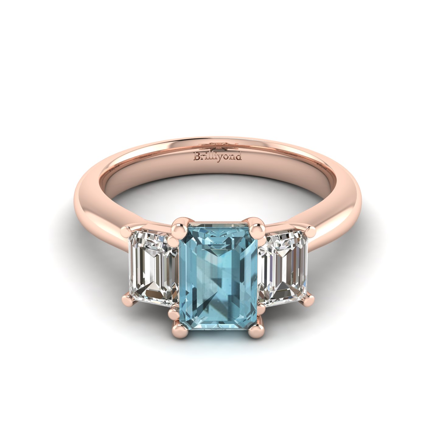 Aquamarine Rose Gold Emerald Cut Engagement Ring Blanche_image1