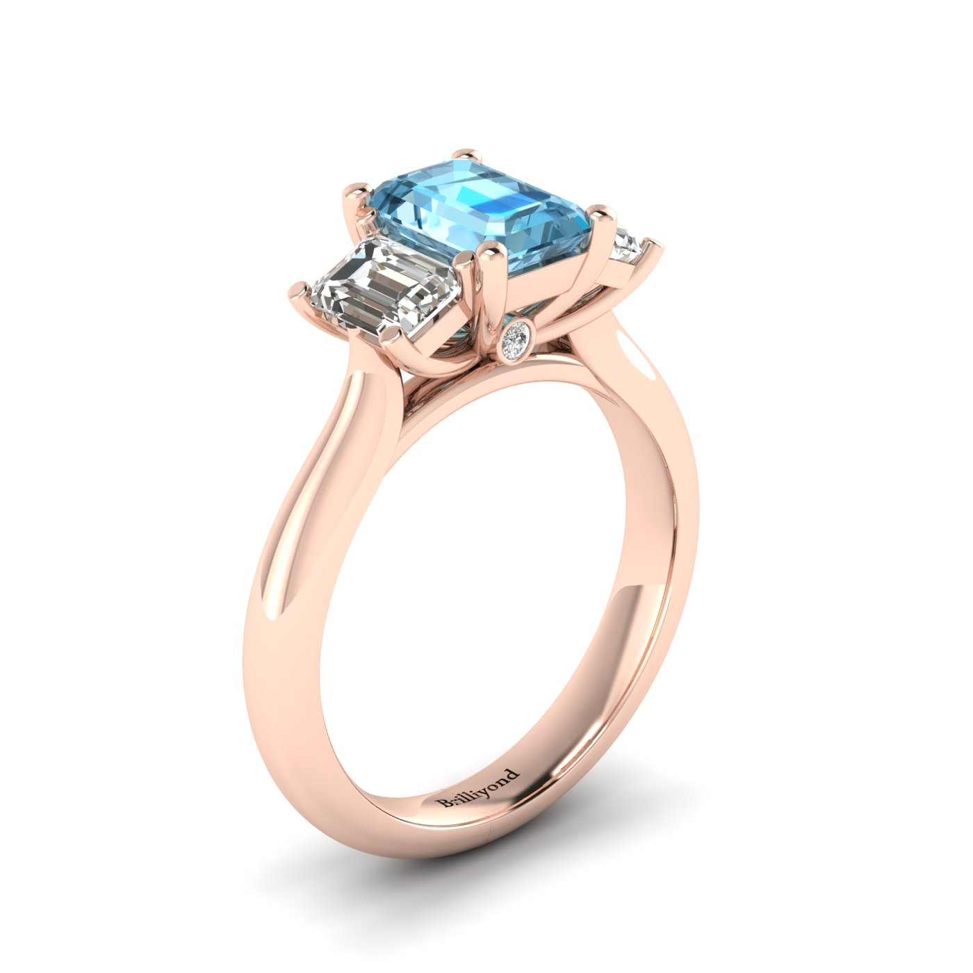 Aquamarine Rose Gold Emerald Cut Engagement Ring Blanche_image2
