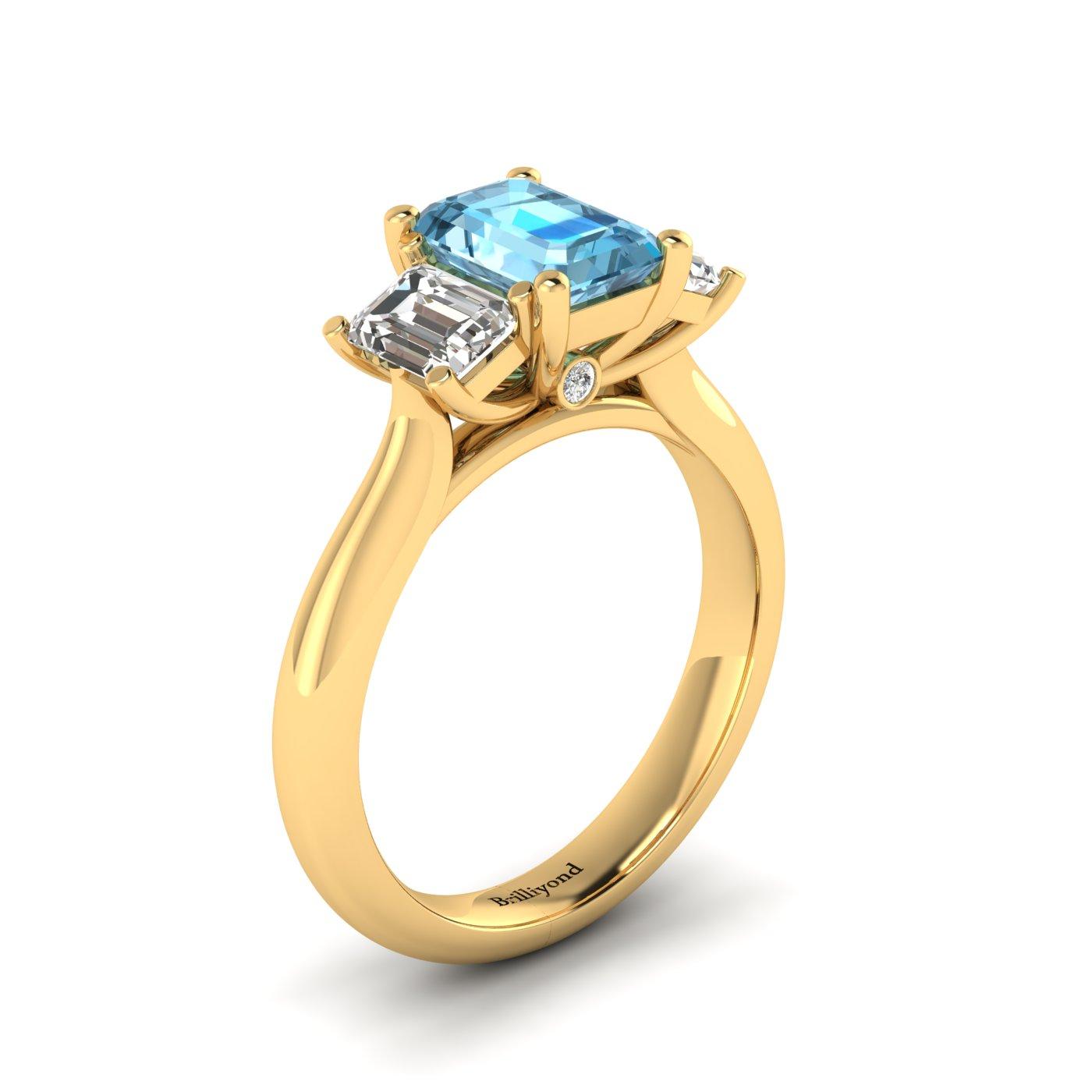 Aquamarine Yellow Gold Emerald Cut Engagement Ring Blanche_image1
