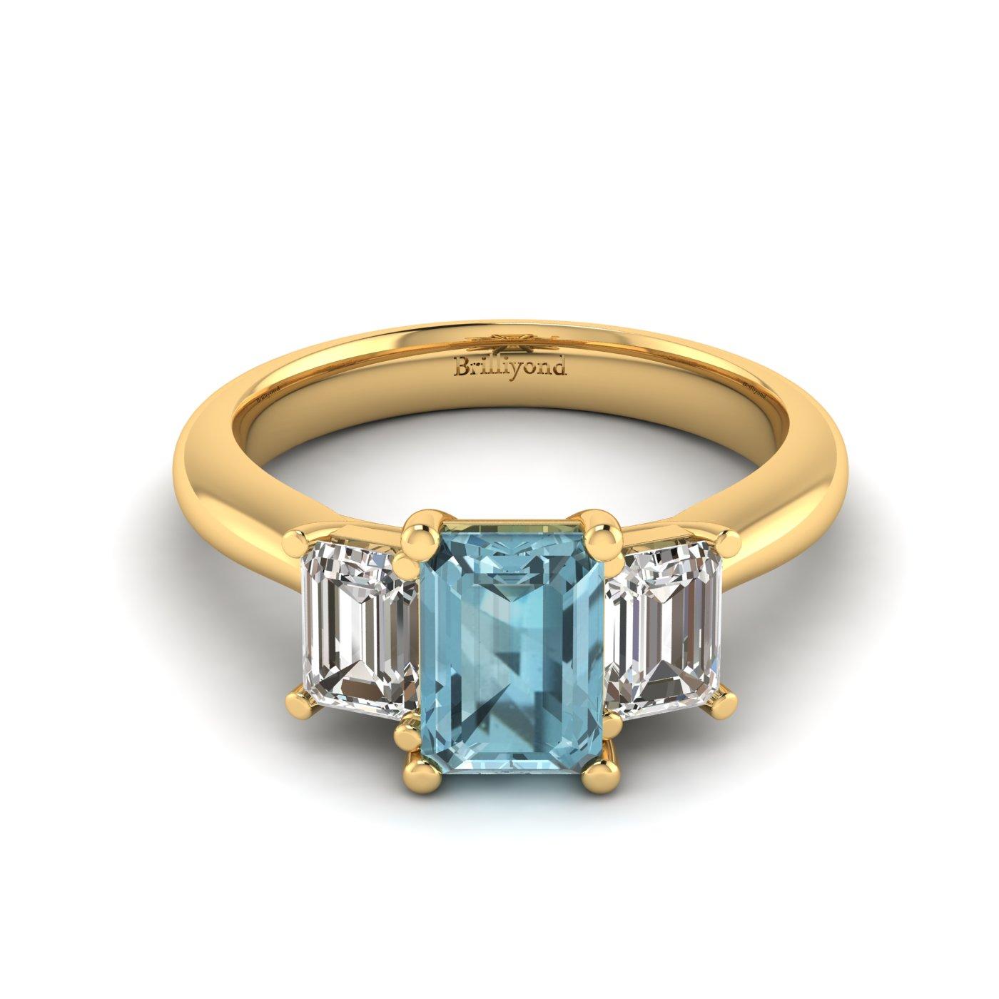 Aquamarine Yellow Gold Emerald Cut Engagement Ring Blanche_image2