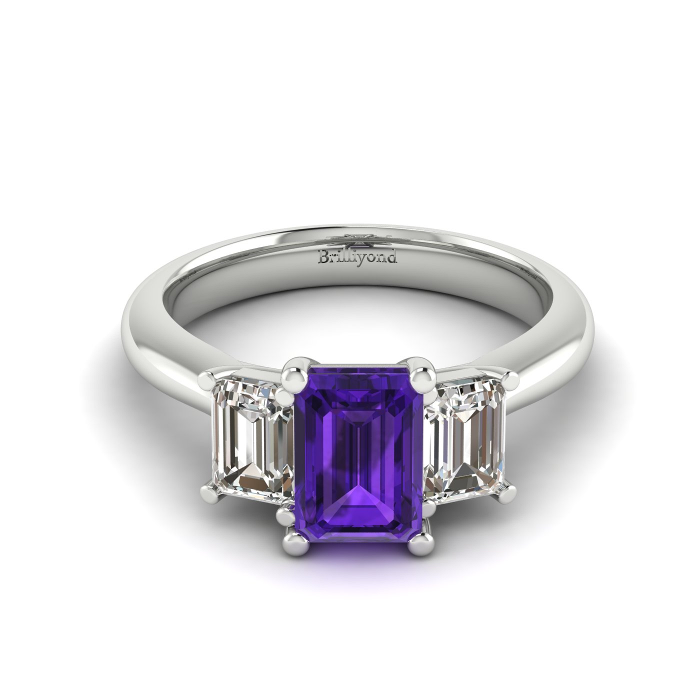 Amethyst White Gold Emerald Cut Engagement Ring Blanche_image1