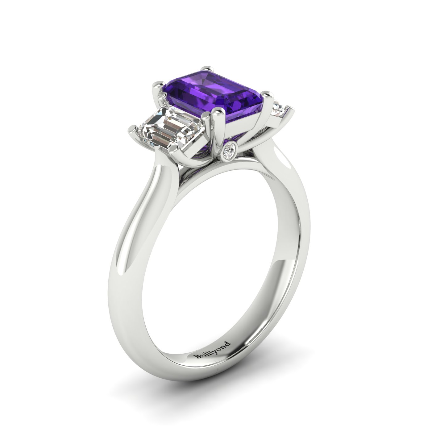 Amethyst White Gold Emerald Cut Engagement Ring Blanche_image2