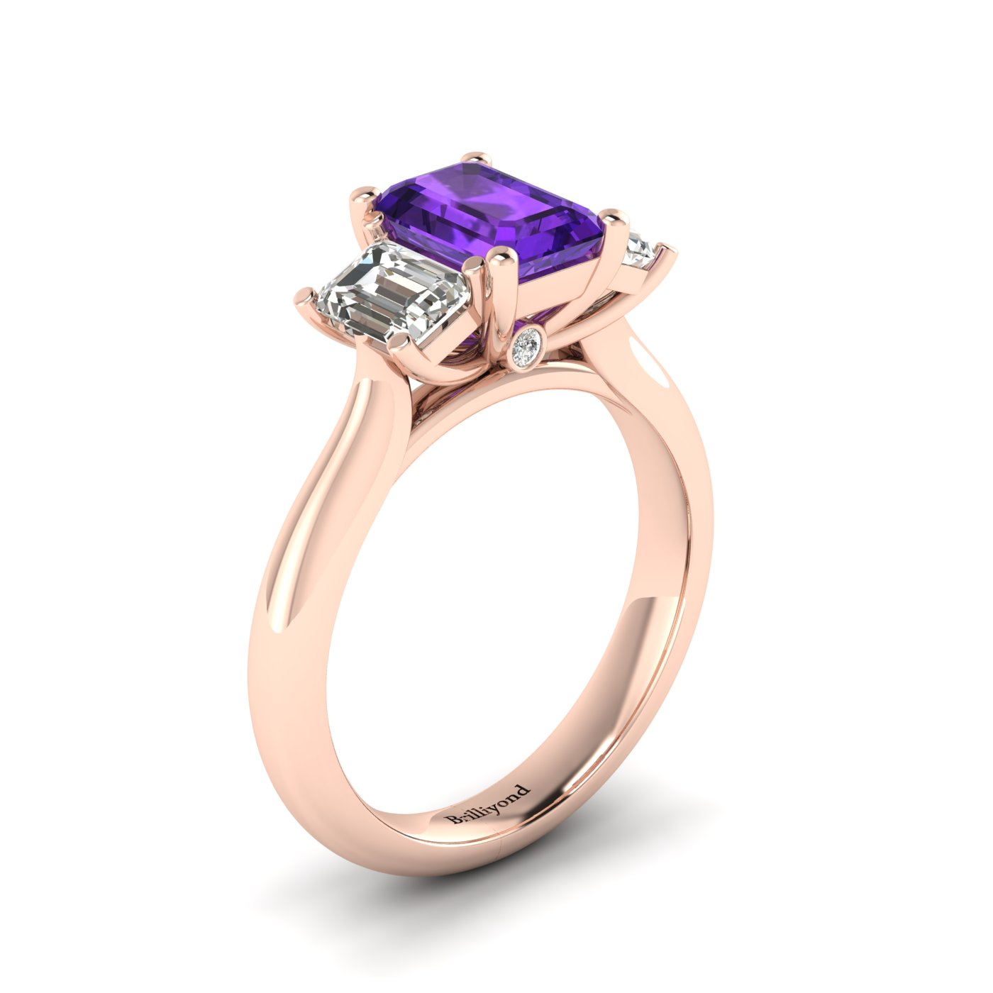 Amethyst Rose Gold Emerald Cut Engagement Ring Blanche_image1