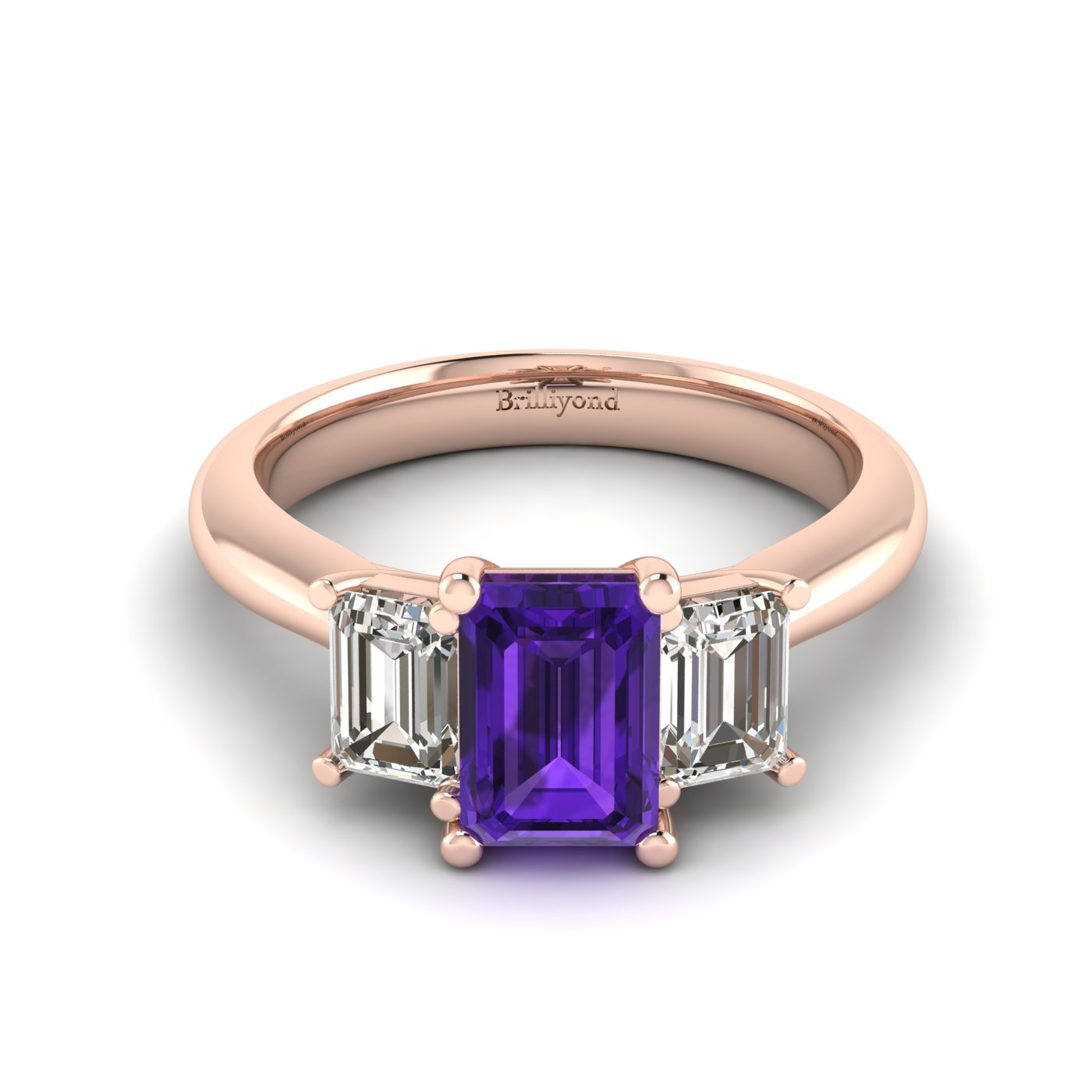 Amethyst Rose Gold Emerald Cut Engagement Ring Blanche_image2