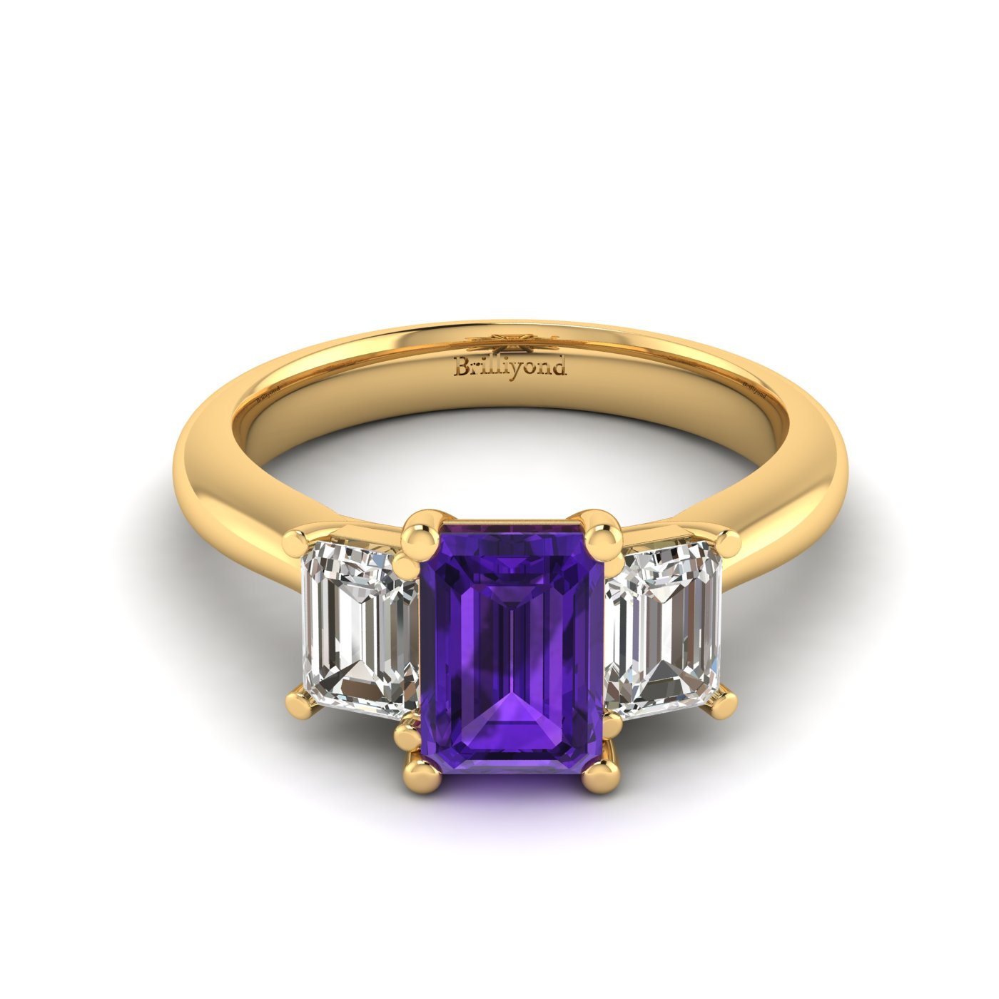 Amethyst Yellow Gold Emerald Cut Engagement Ring Blanche_image1