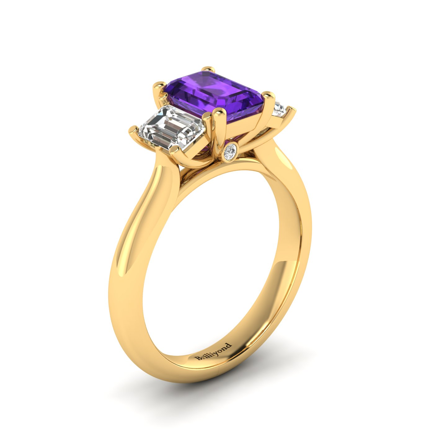 Amethyst Yellow Gold Emerald Cut Engagement Ring Blanche_image2