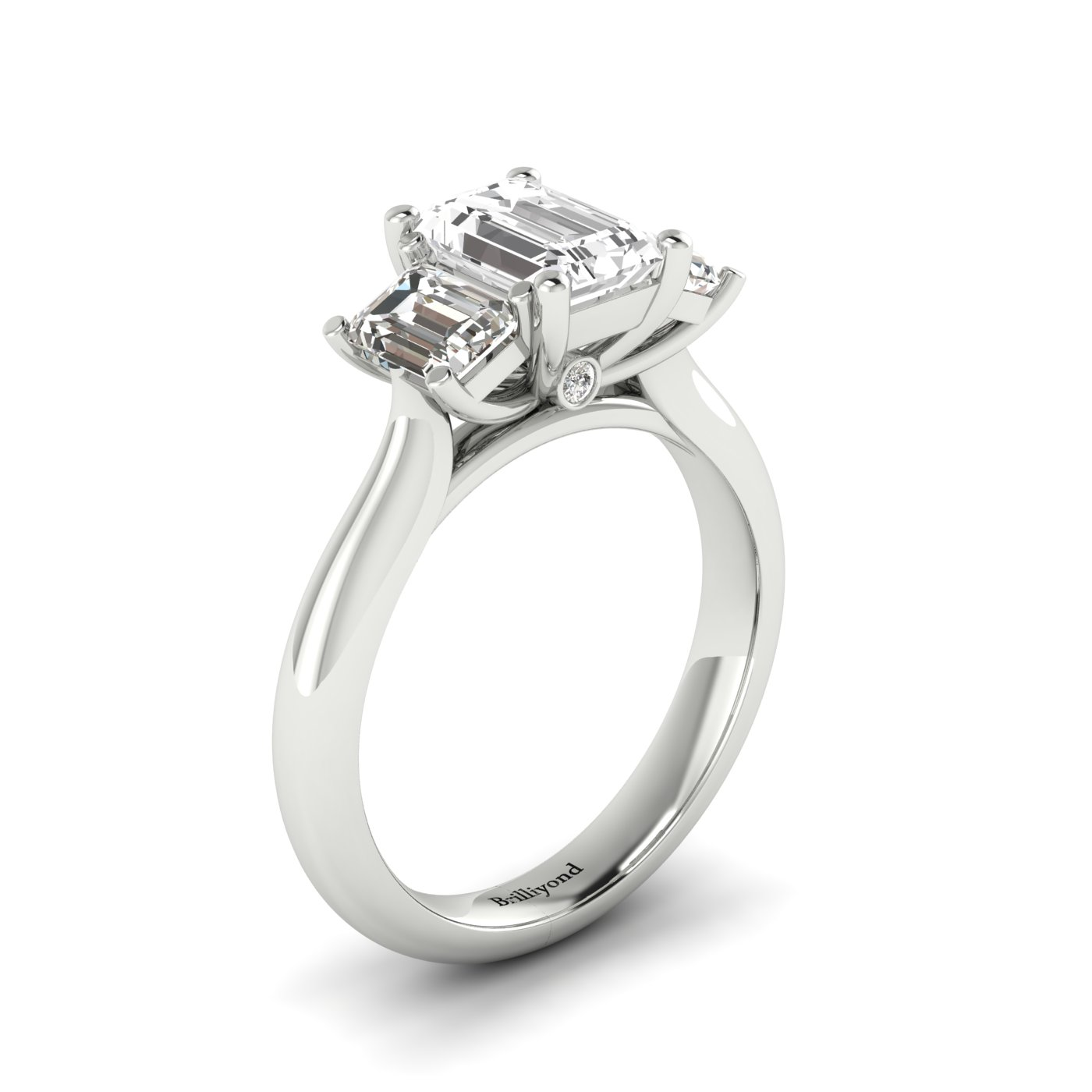 White Sapphire White Gold Emerald Cut Engagement Ring Blanche_image1