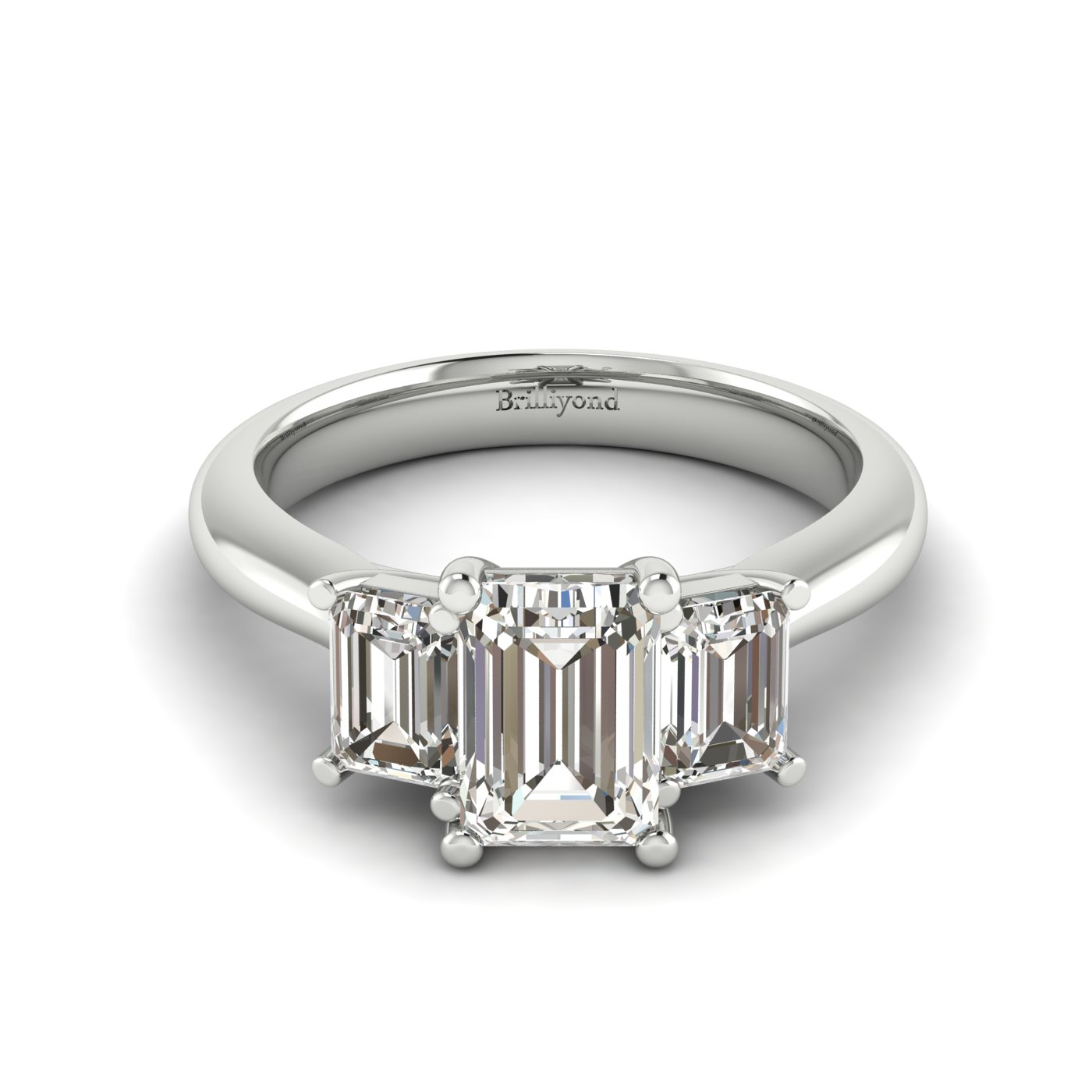 White Sapphire White Gold Emerald Cut Engagement Ring Blanche_image2