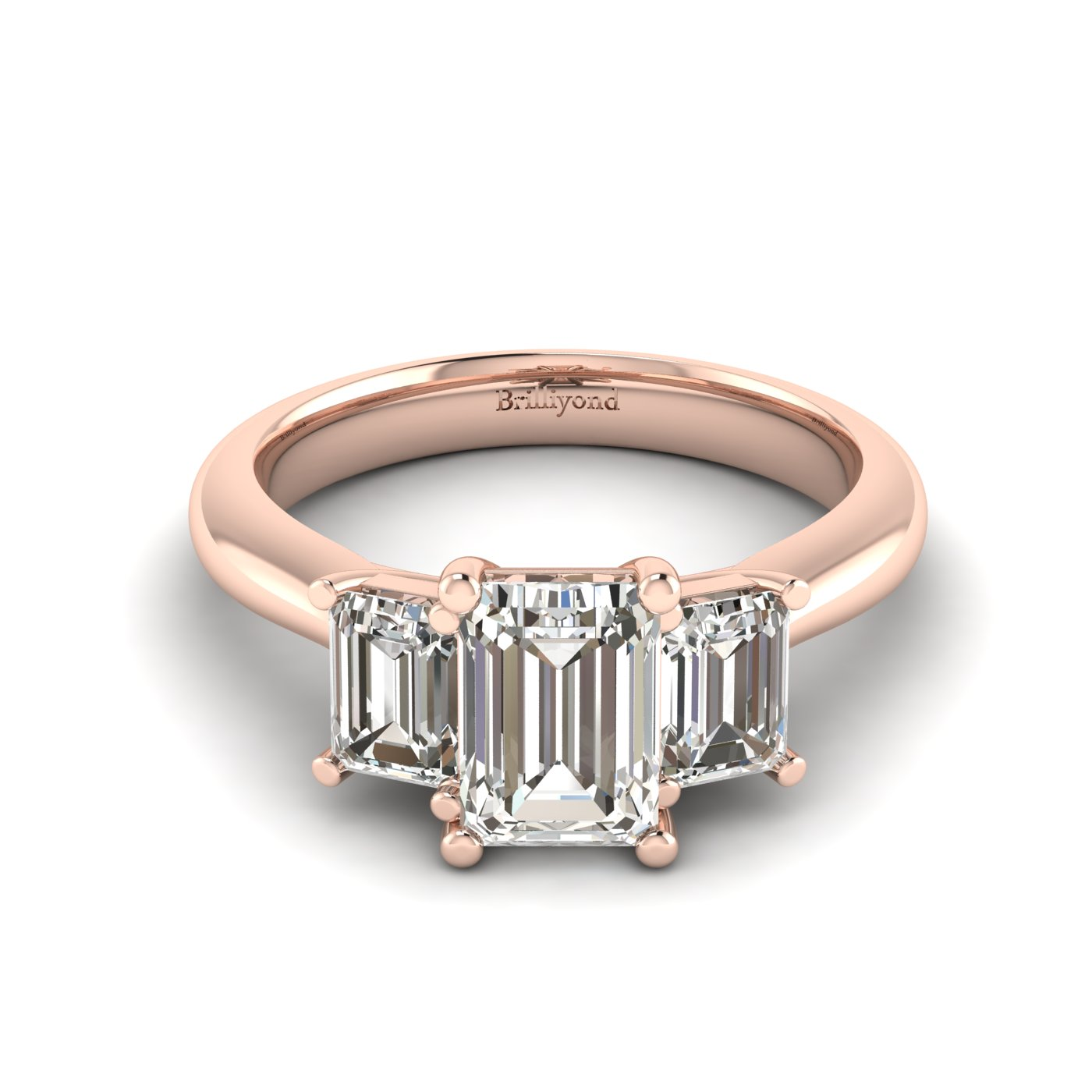 White Sapphire Rose Gold Emerald Cut Engagement Ring Blanche_image1