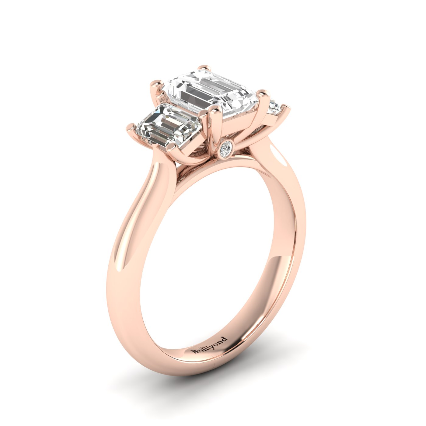 White Sapphire Rose Gold Emerald Cut Engagement Ring Blanche_image2