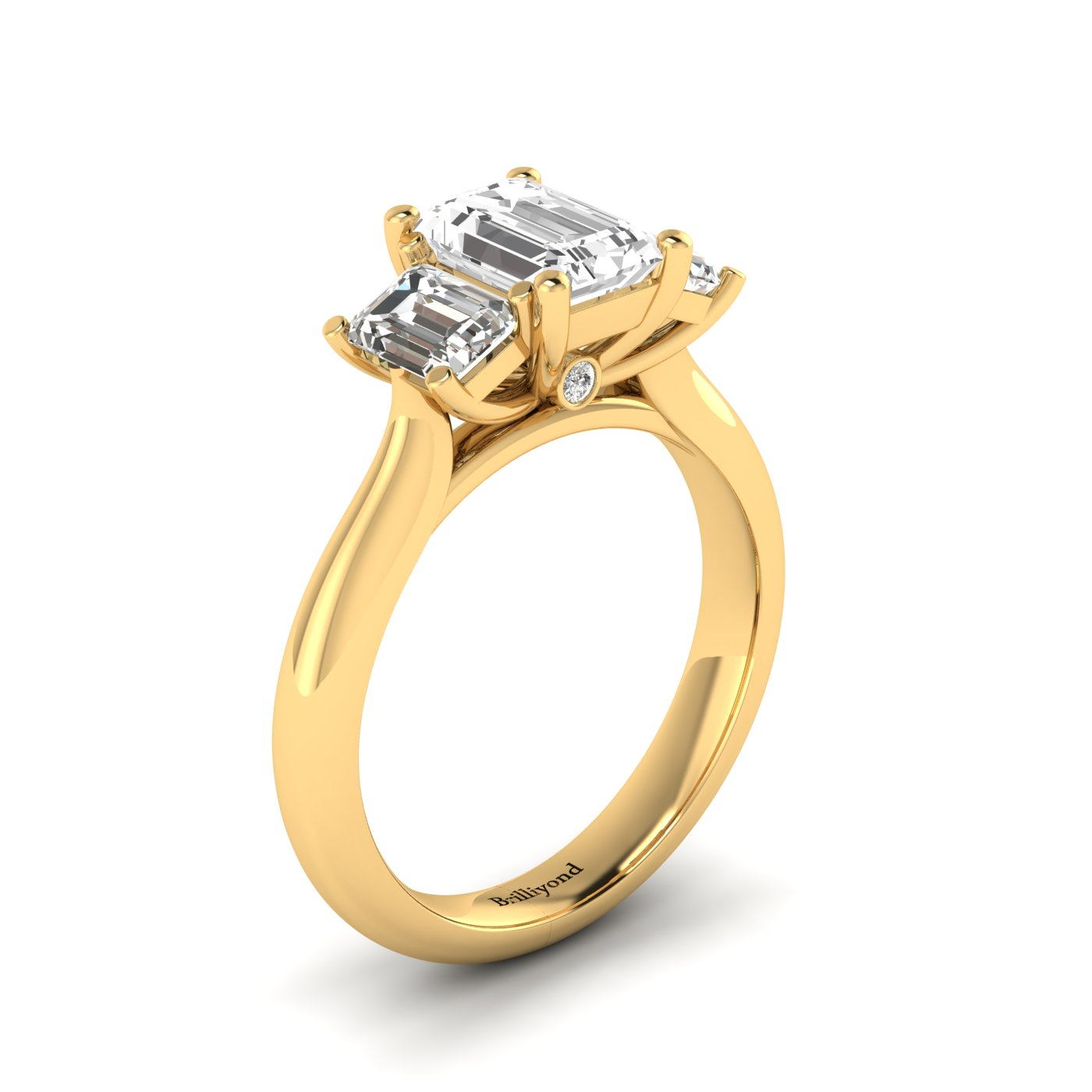 White Sapphire Yellow Gold Emerald Cut Engagement Ring Blanche_image1