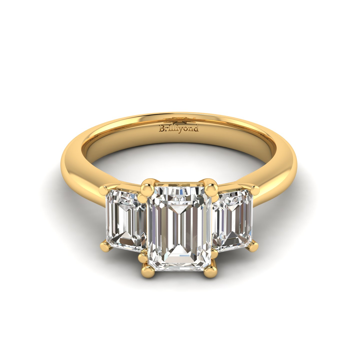 White Sapphire Yellow Gold Emerald Cut Engagement Ring Blanche_image2