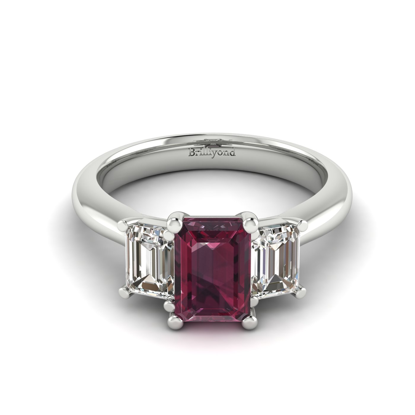 Garnet White Gold Emerald Cut Engagement Ring Blanche_image1