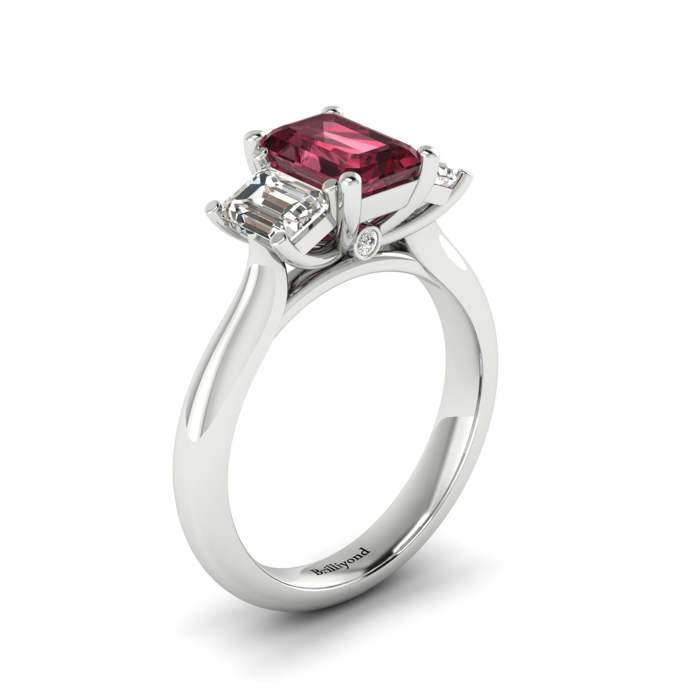 Garnet White Gold Emerald Cut Engagement Ring Blanche_image2