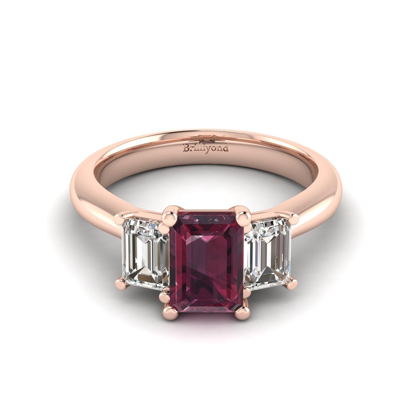 Garnet Rose Gold Emerald Cut Engagement Ring Blanche_image2