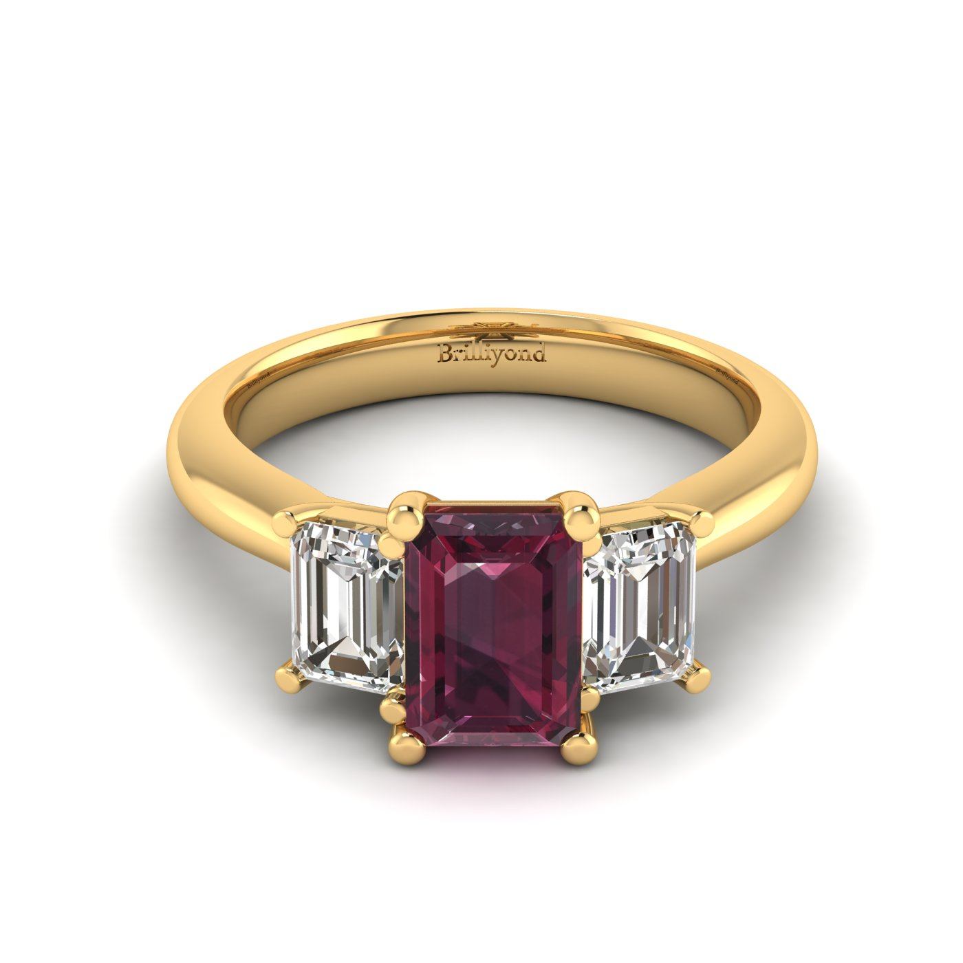 Garnet Yellow Gold Emerald Cut Engagement Ring Blanche_image1
