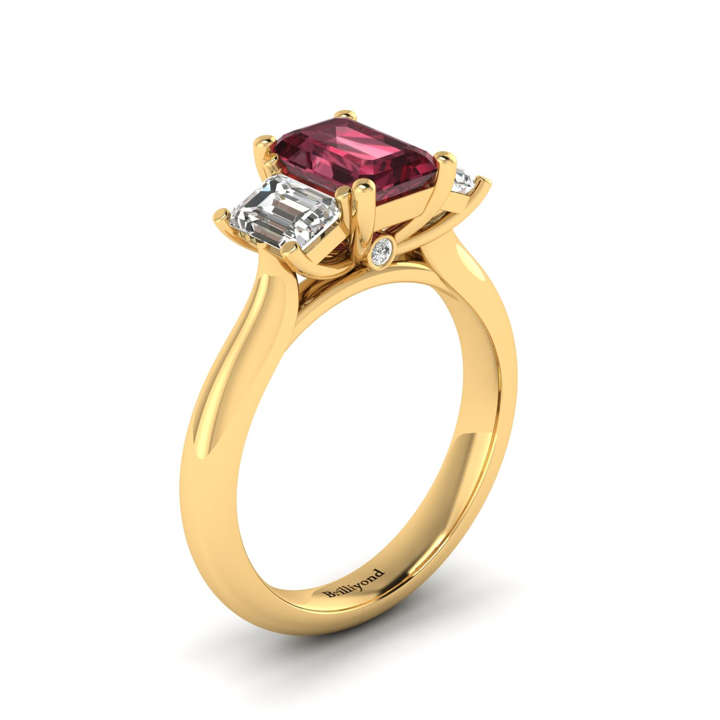 Garnet Yellow Gold Emerald Cut Engagement Ring Blanche_image2