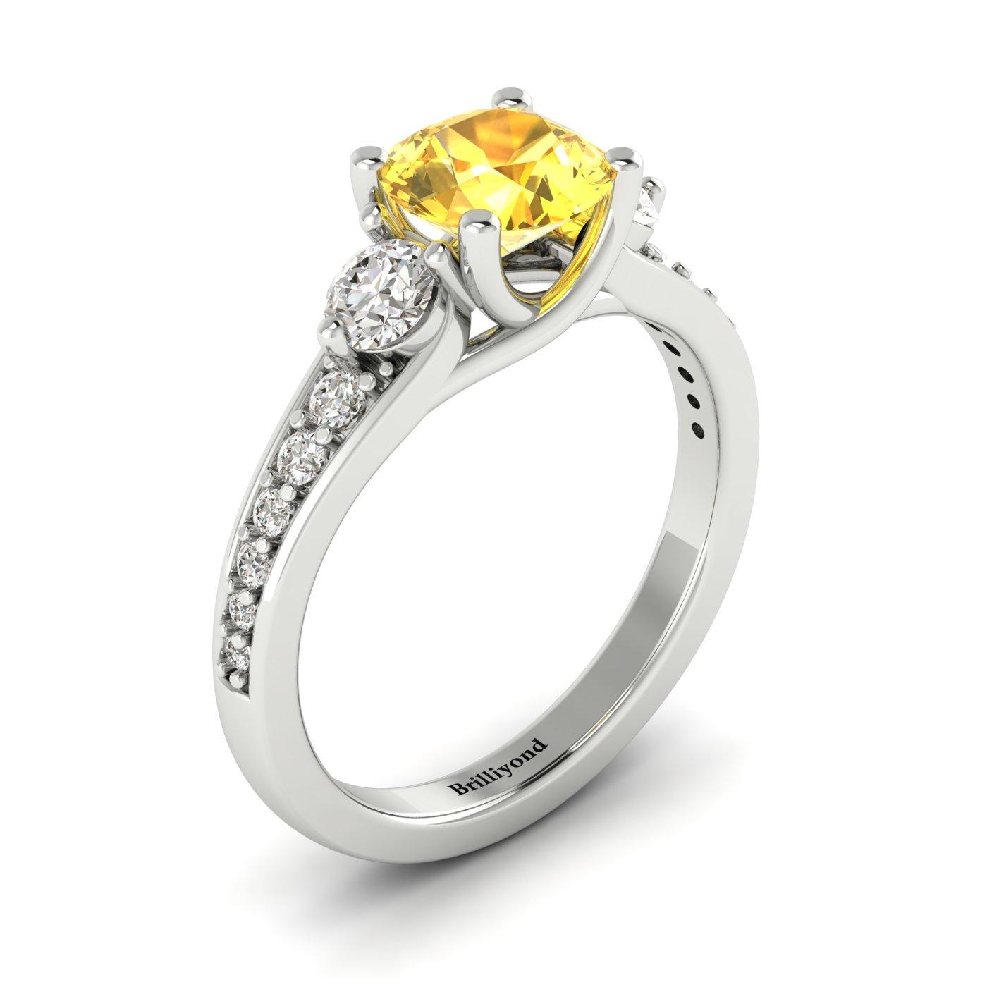Yellow Sapphire White Gold Three Stone Engagement Ring Sorento_image2