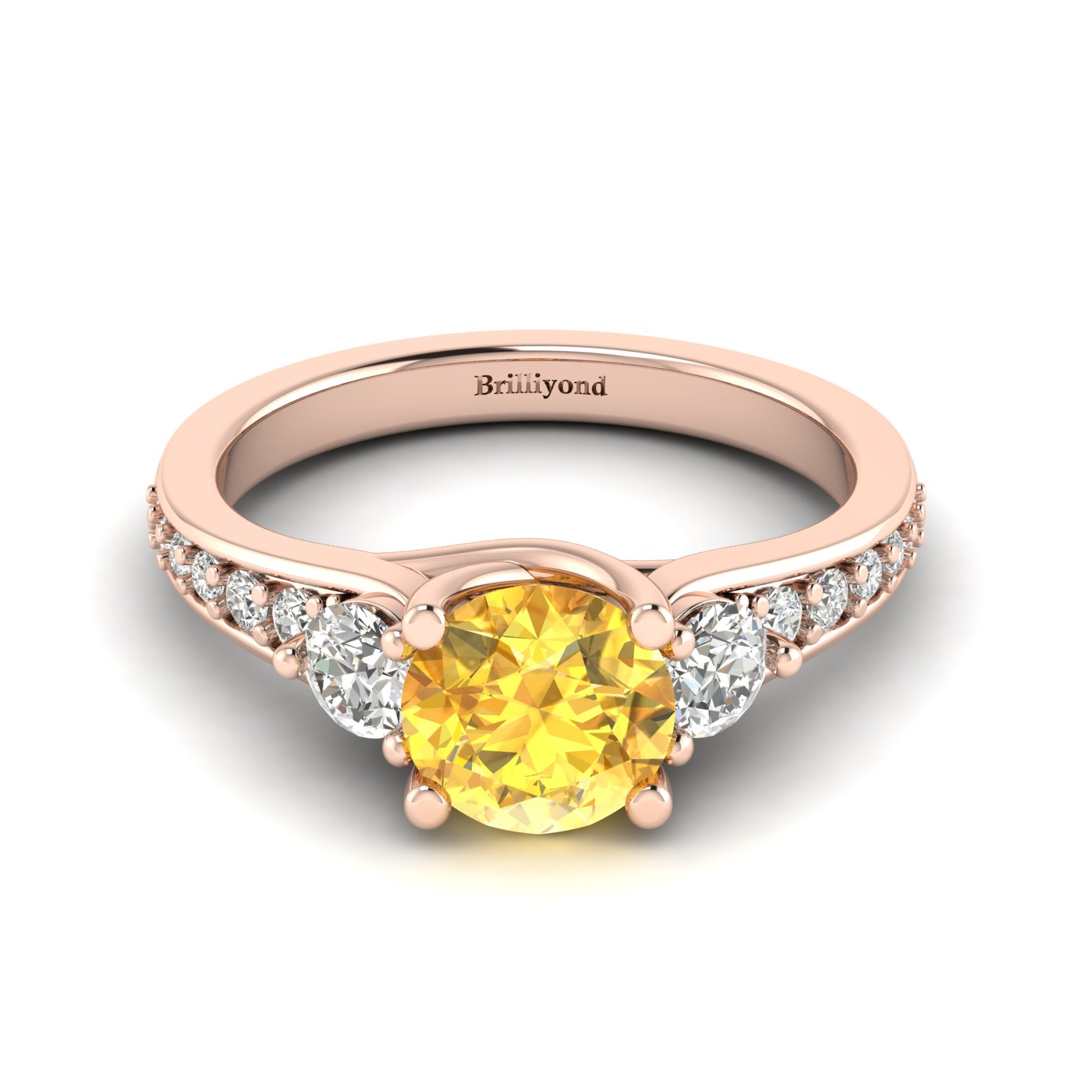 Yellow Sapphire Rose Gold Three Stone Engagement Ring Sorento_image1