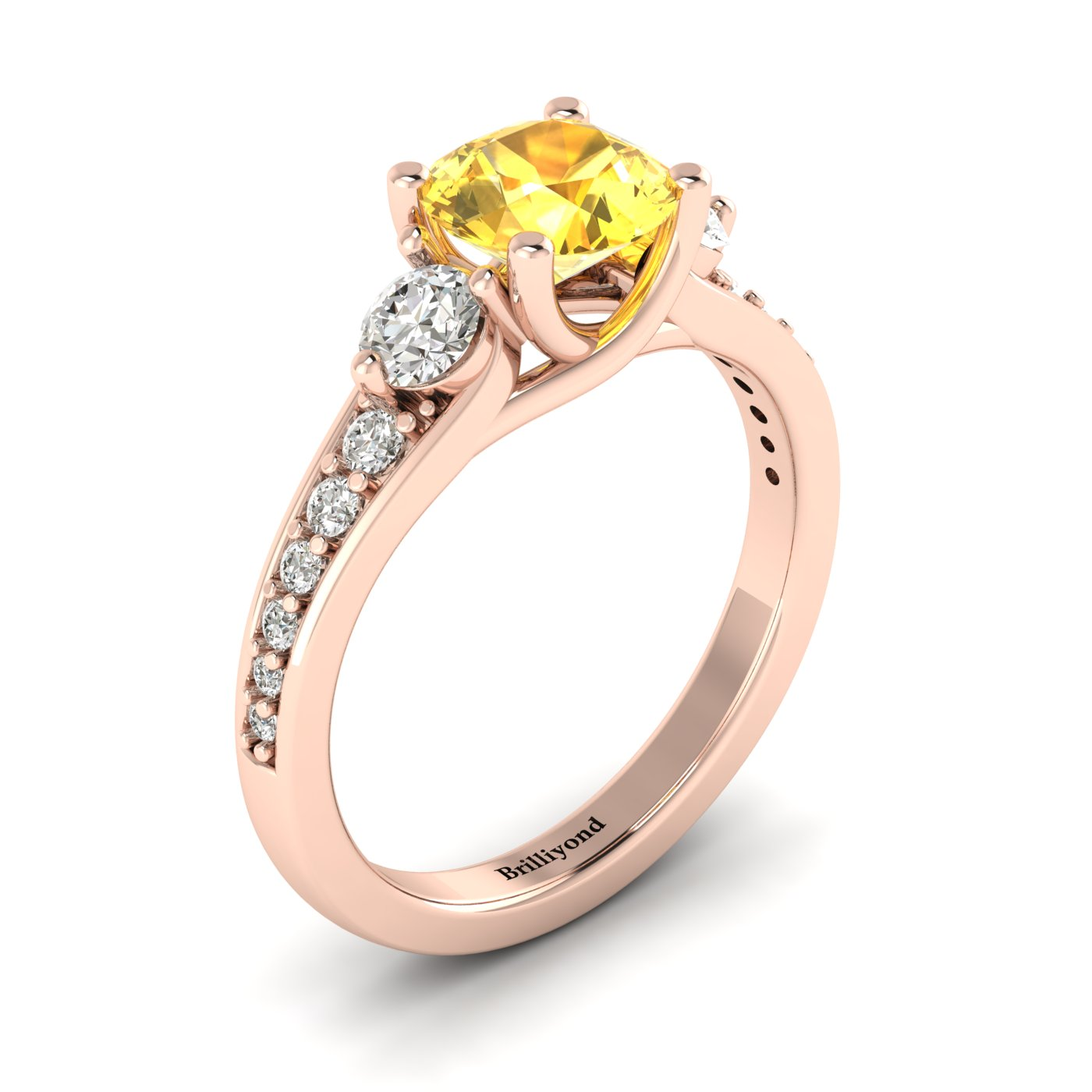 Yellow Sapphire Rose Gold Three Stone Engagement Ring Sorento_image2