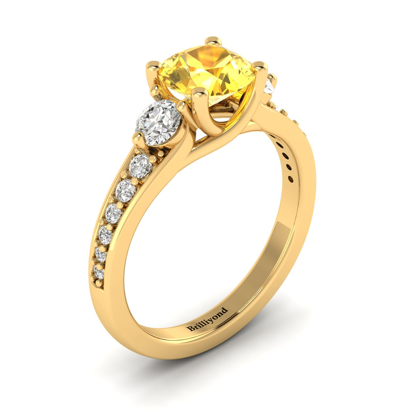 Yellow Sapphire Yellow Gold Three Stone Engagement Ring Sorento_image1