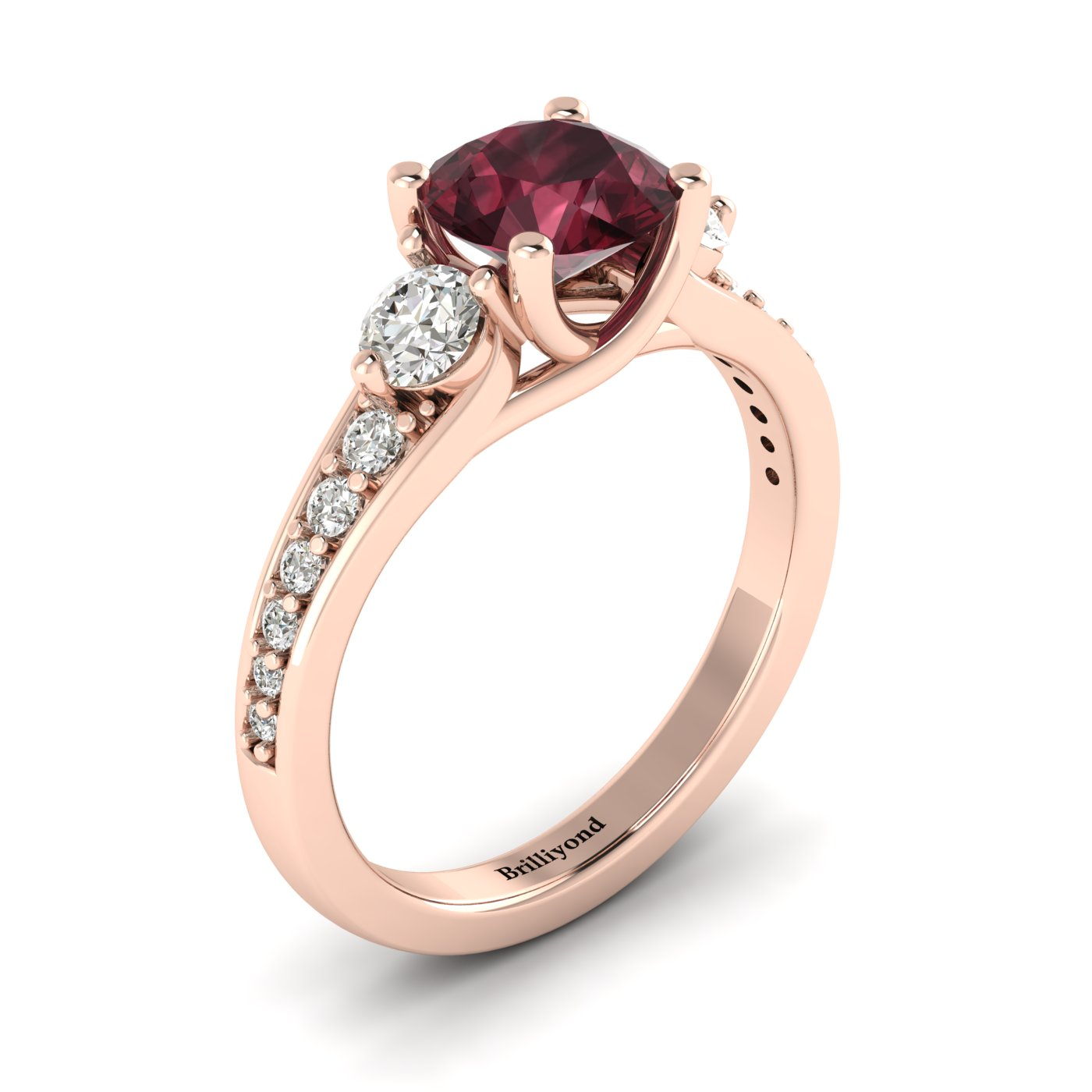 Garnet Rose Gold Three Stone Engagement Ring Sorento_image2