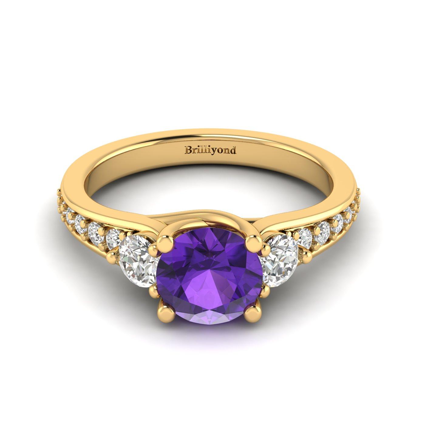 Amethyst Yellow Gold Three Stone Engagement Ring Sorento_image1