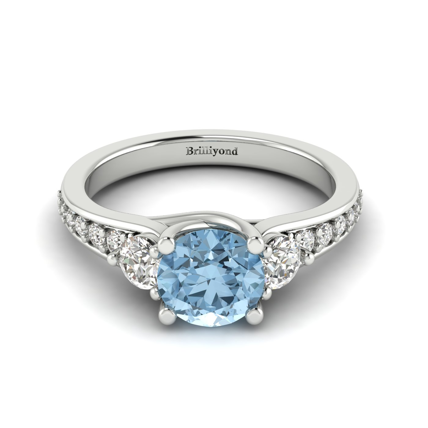 Aquamarine White Gold Three Stone Engagement Ring Sorento_image1