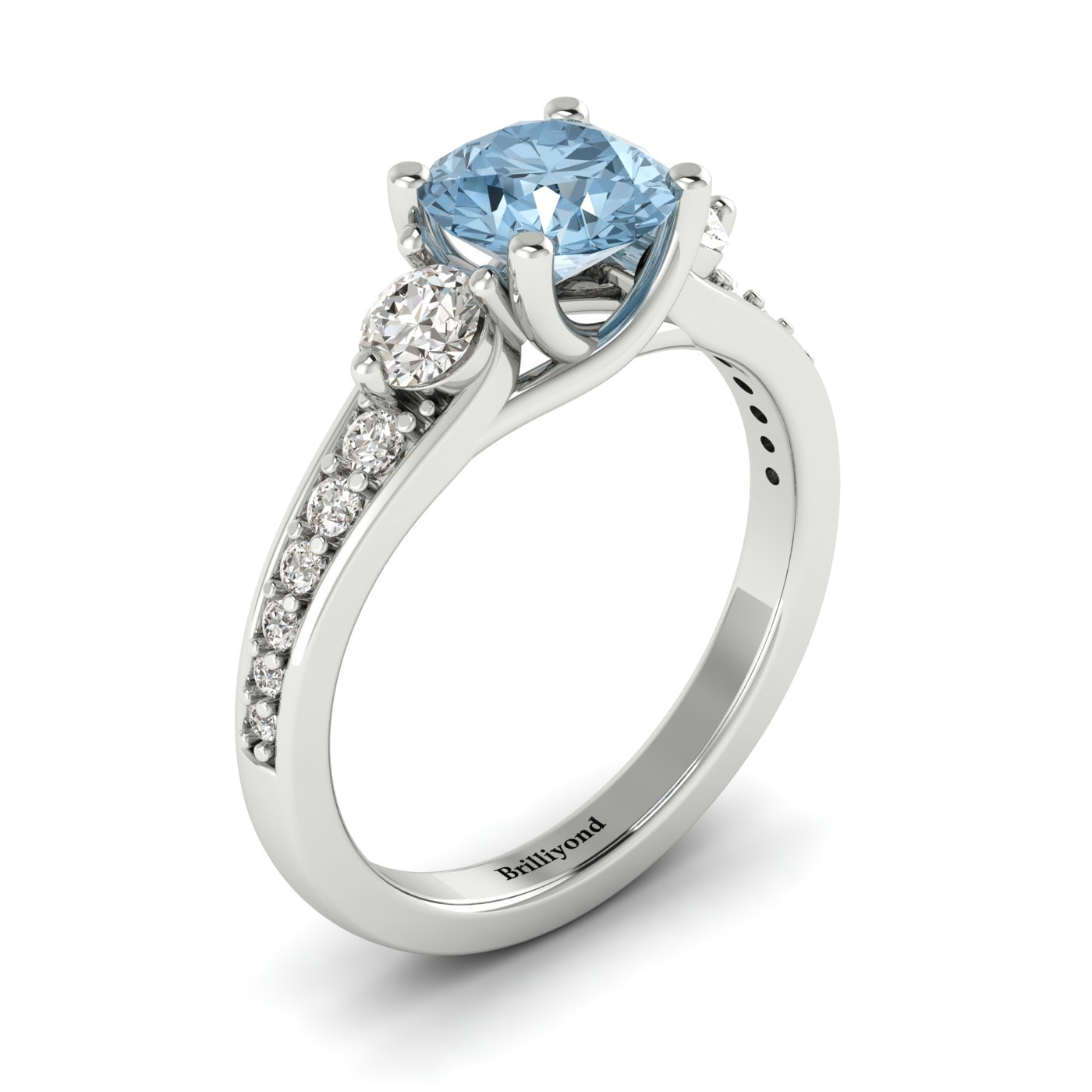 Aquamarine White Gold Three Stone Engagement Ring Sorento_image2