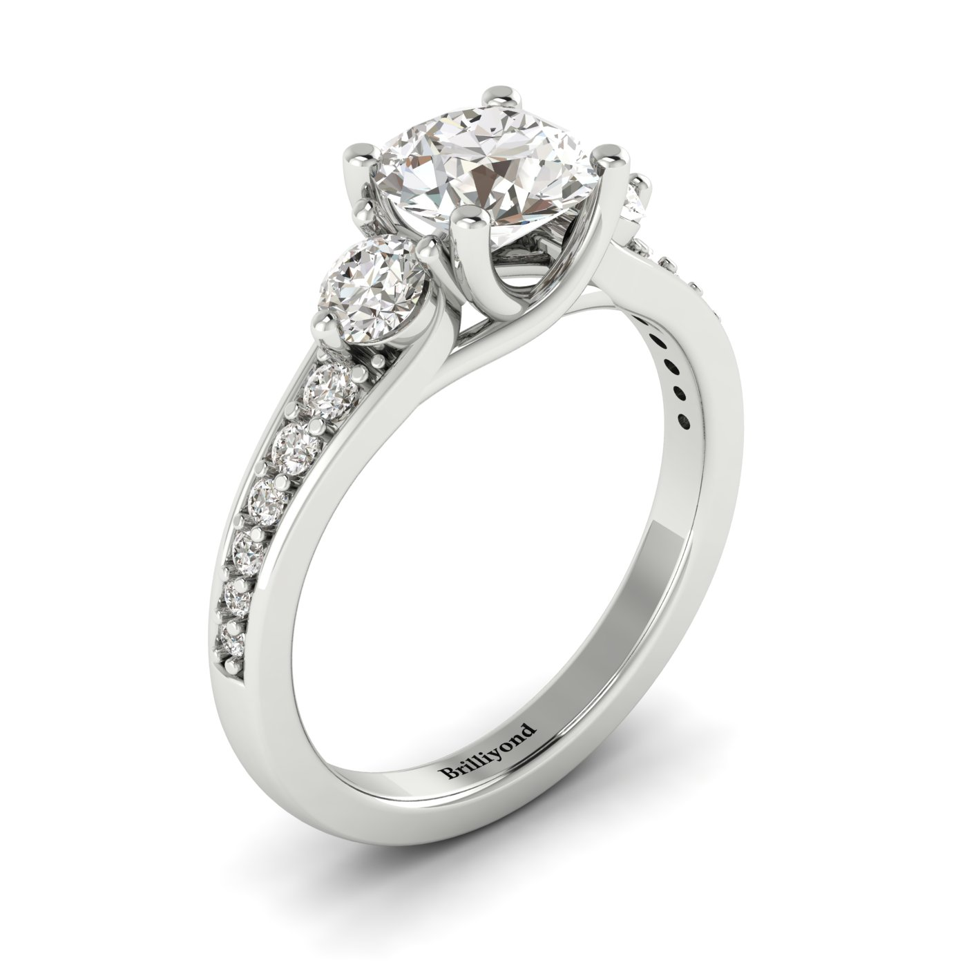 White Sapphire White Gold Three Stone Engagement Ring Sorento_image1
