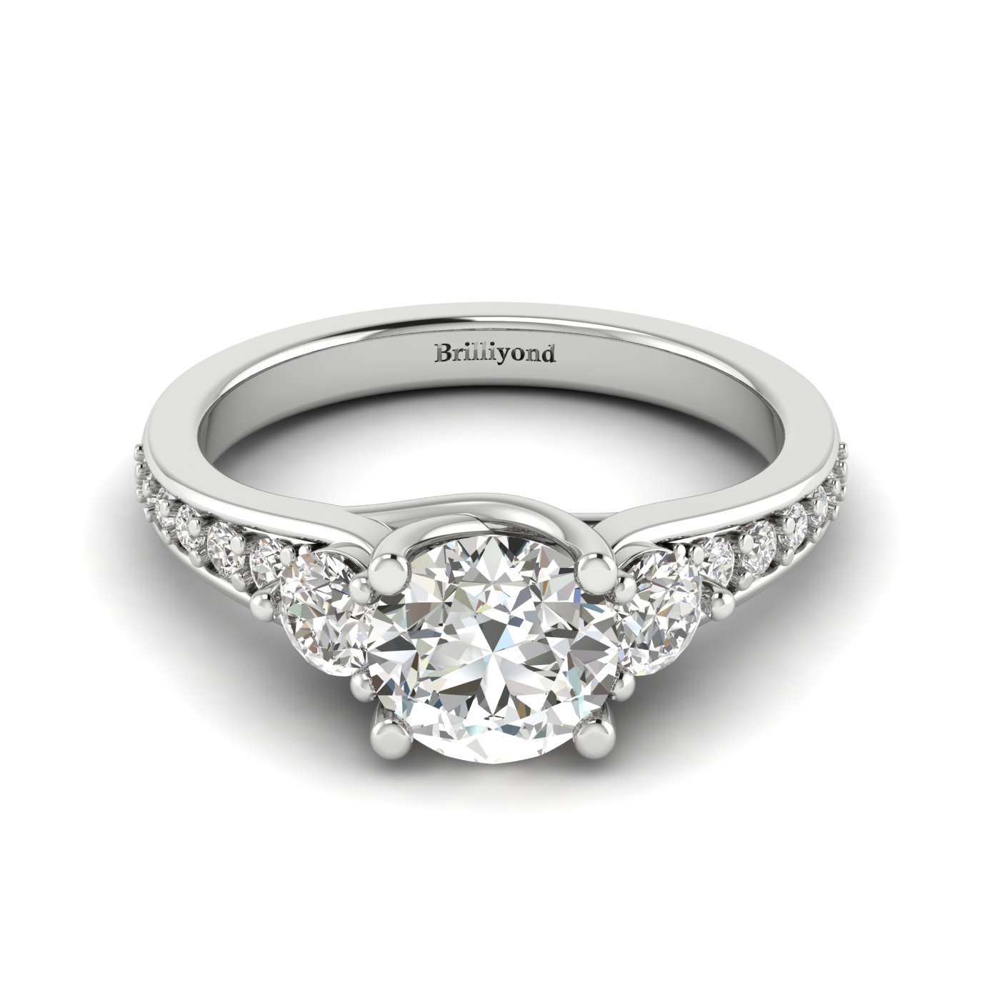 White Sapphire White Gold Three Stone Engagement Ring Sorento_image2