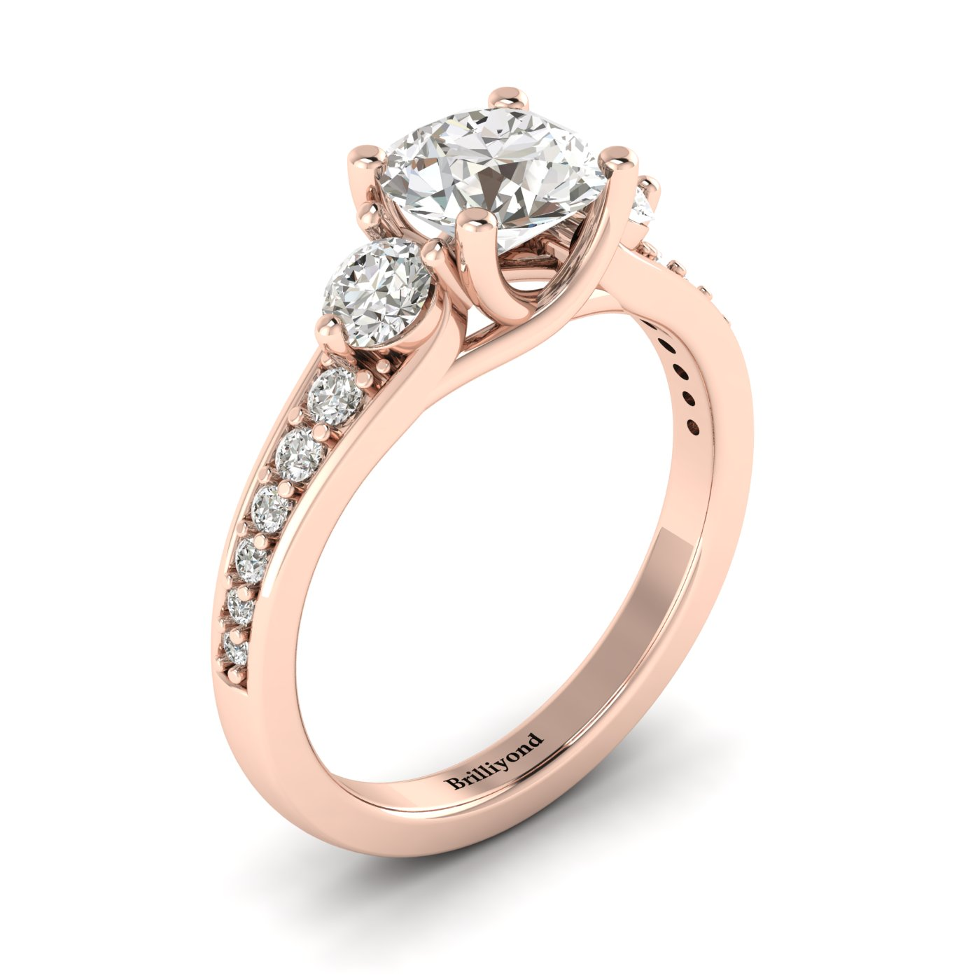 White Sapphire Rose Gold Three Stone Engagement Ring Sorento_image1