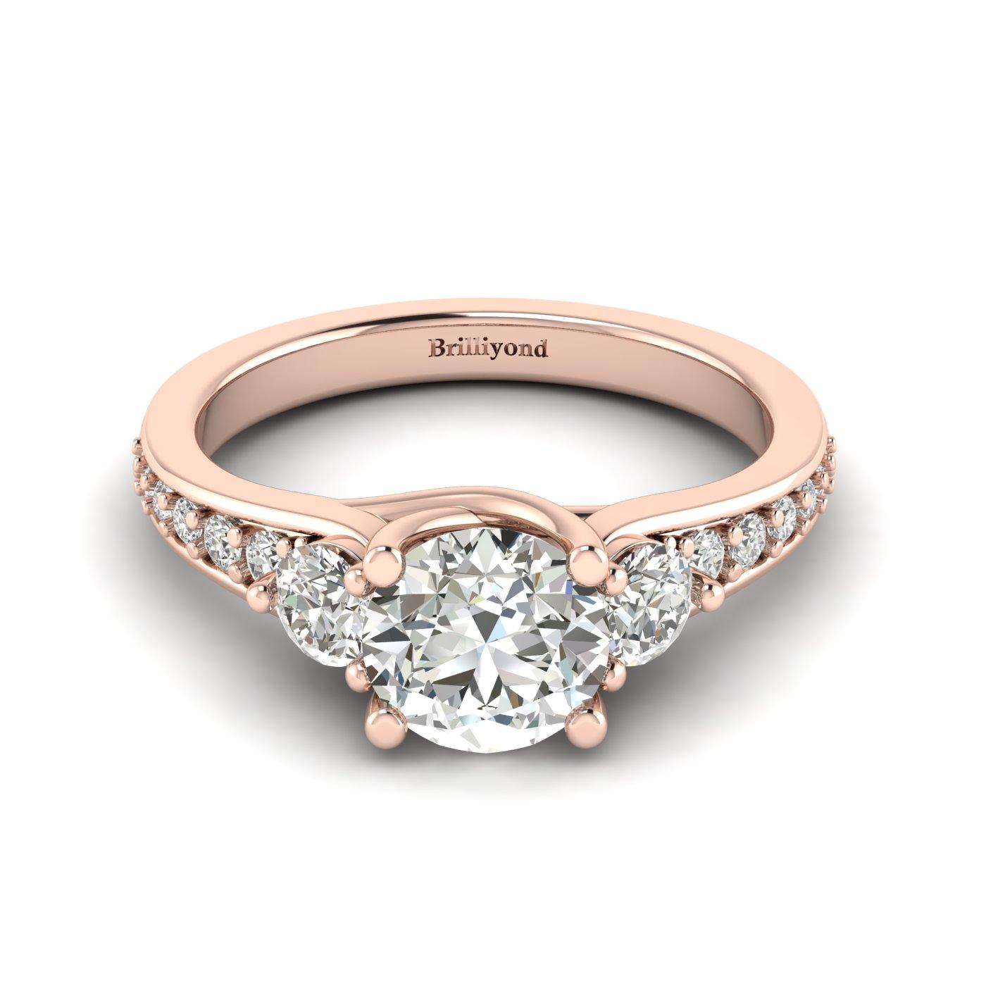 White Sapphire Rose Gold Three Stone Engagement Ring Sorento_image2