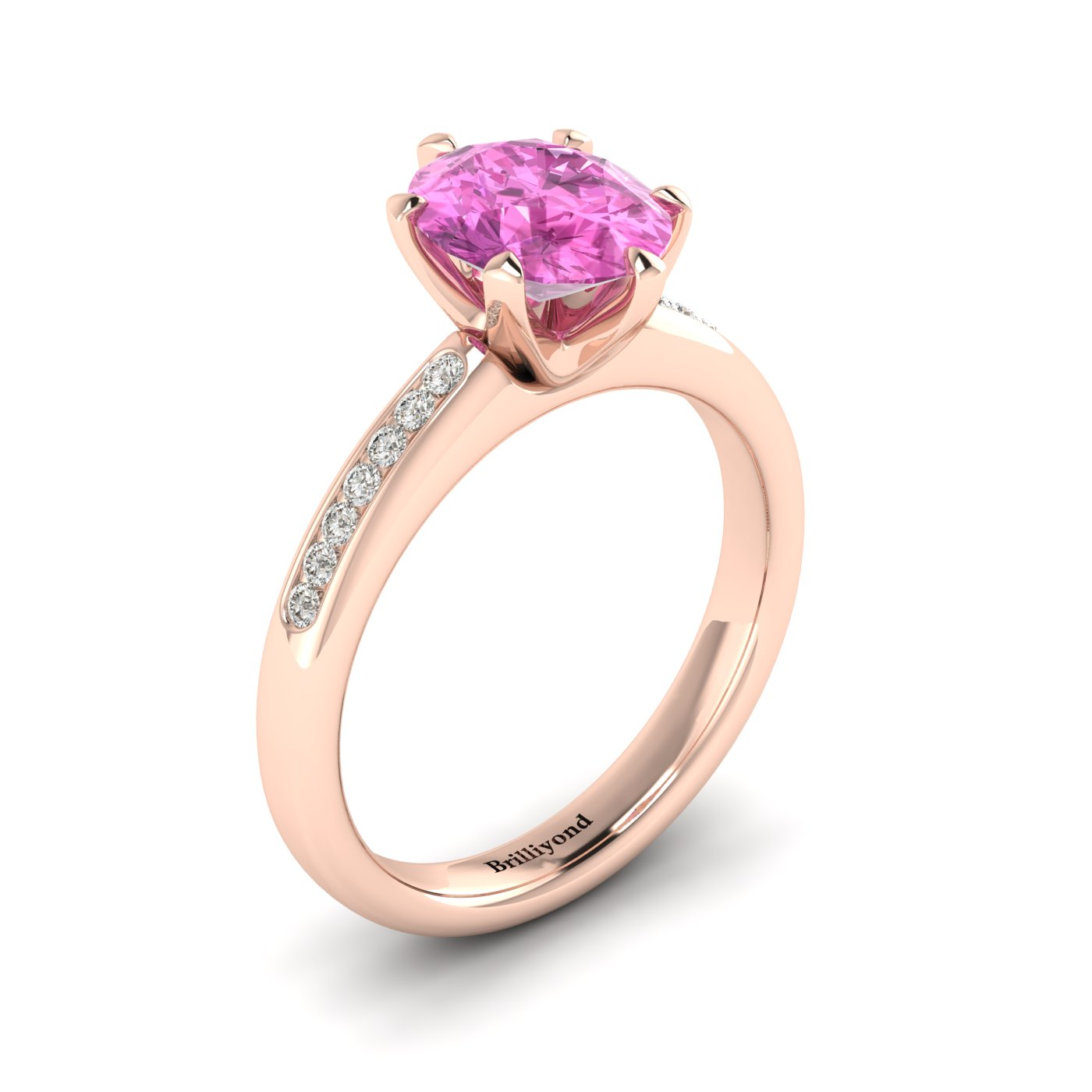 Pink Sapphire Rose Gold Oval Engagement Ring Nymph_image1