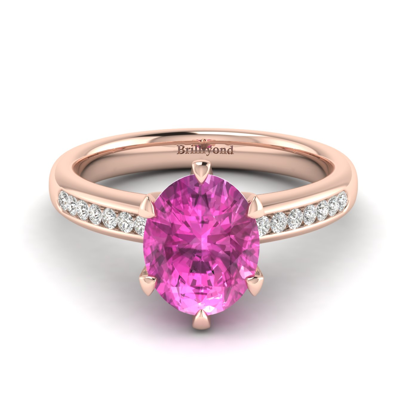 Pink Sapphire Rose Gold Oval Engagement Ring Nymph_image2