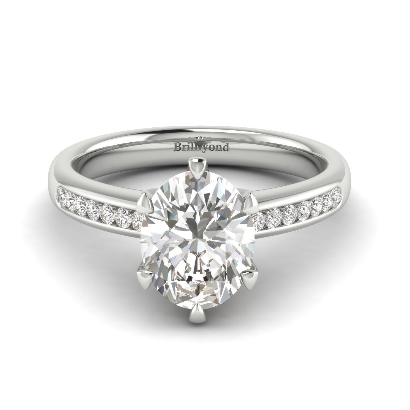 Diamond Platinum Oval Engagement Ring Nymph_image2