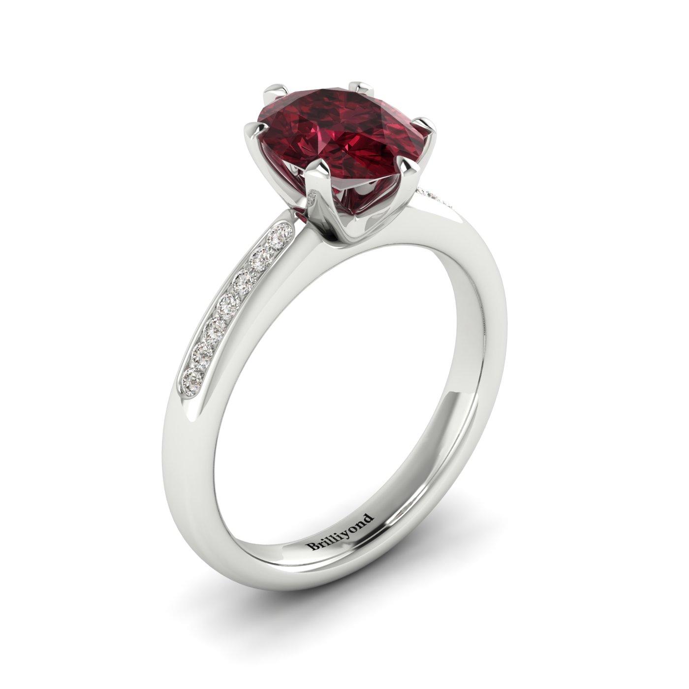 Garnet Ring White Gold Oval Nymph_image2