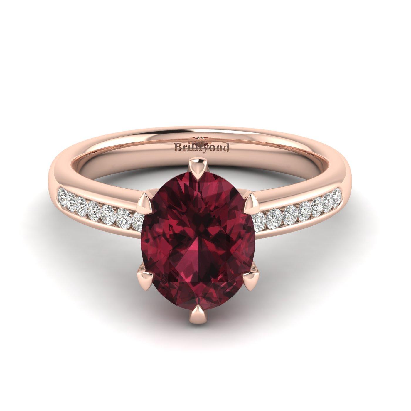 Garnet Ring Rose Gold Oval Nymph_image2