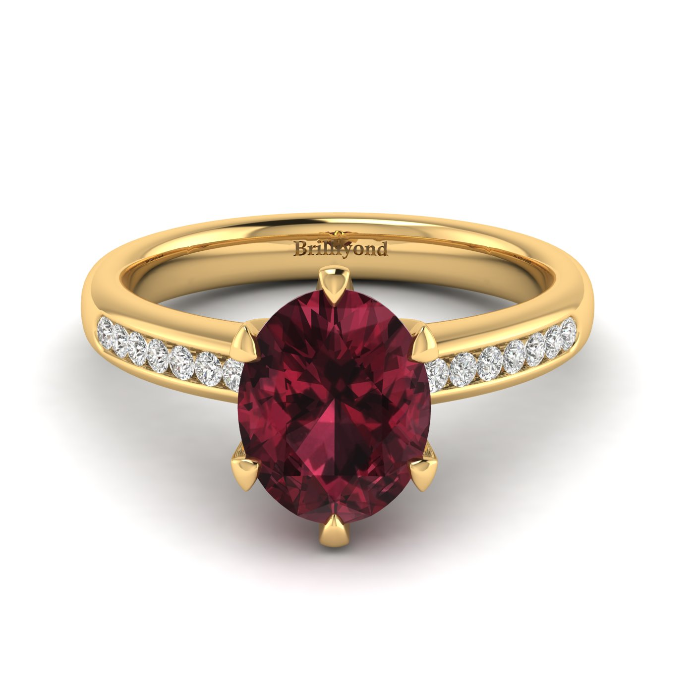 Garnet Yellow Gold Oval Engagement Ring Nymph_image1