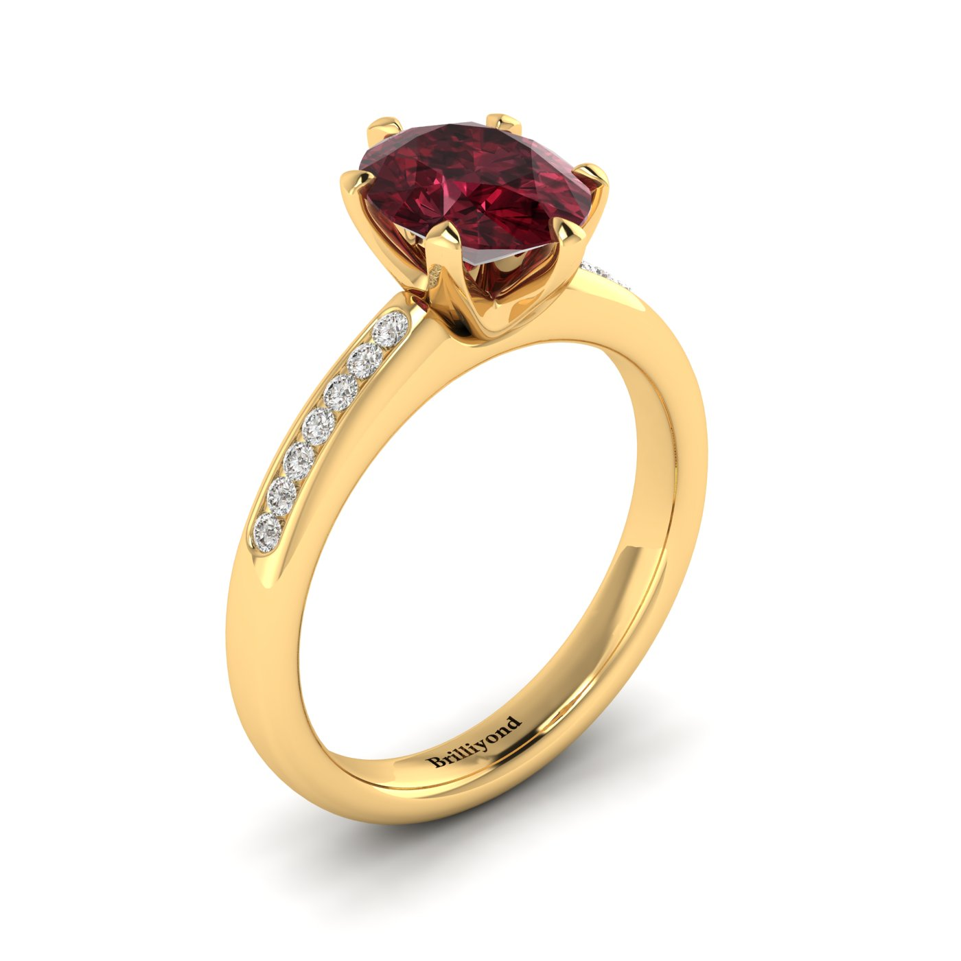 Garnet Yellow Gold Oval Engagement Ring Nymph_image2