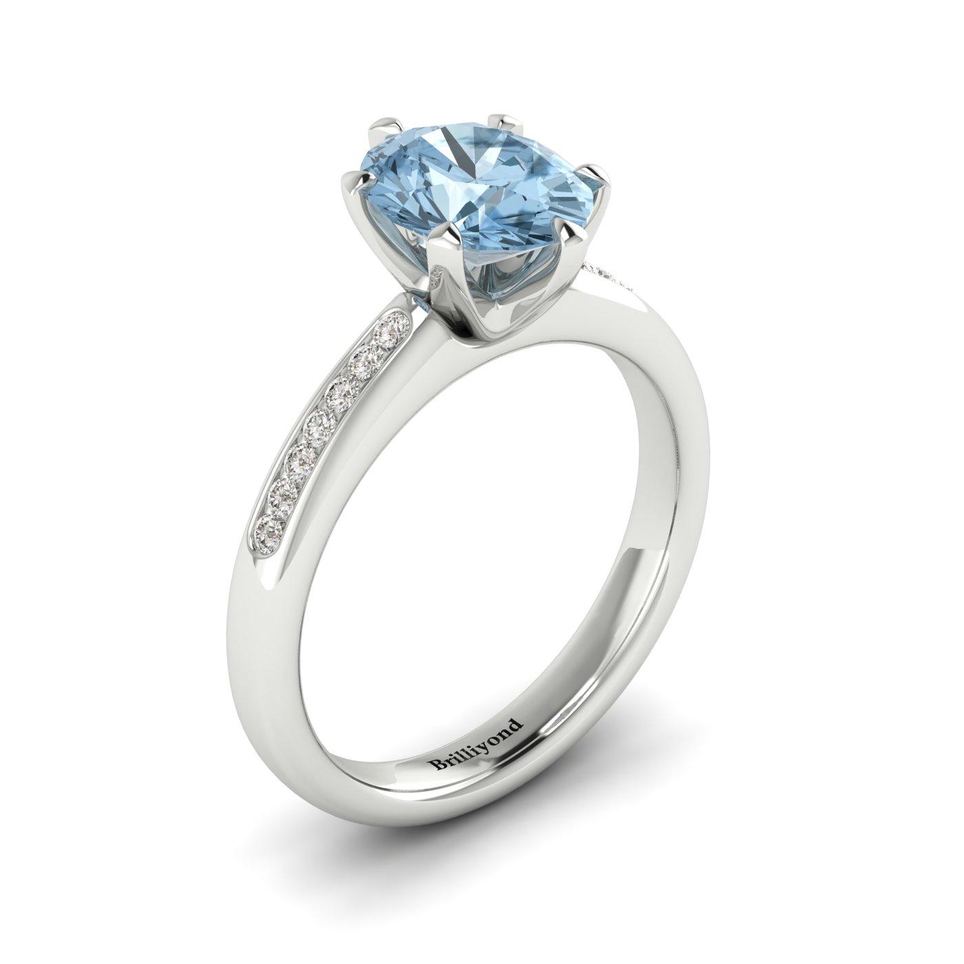 Aquamarine White Gold Oval Engagement Ring Nymph_image1