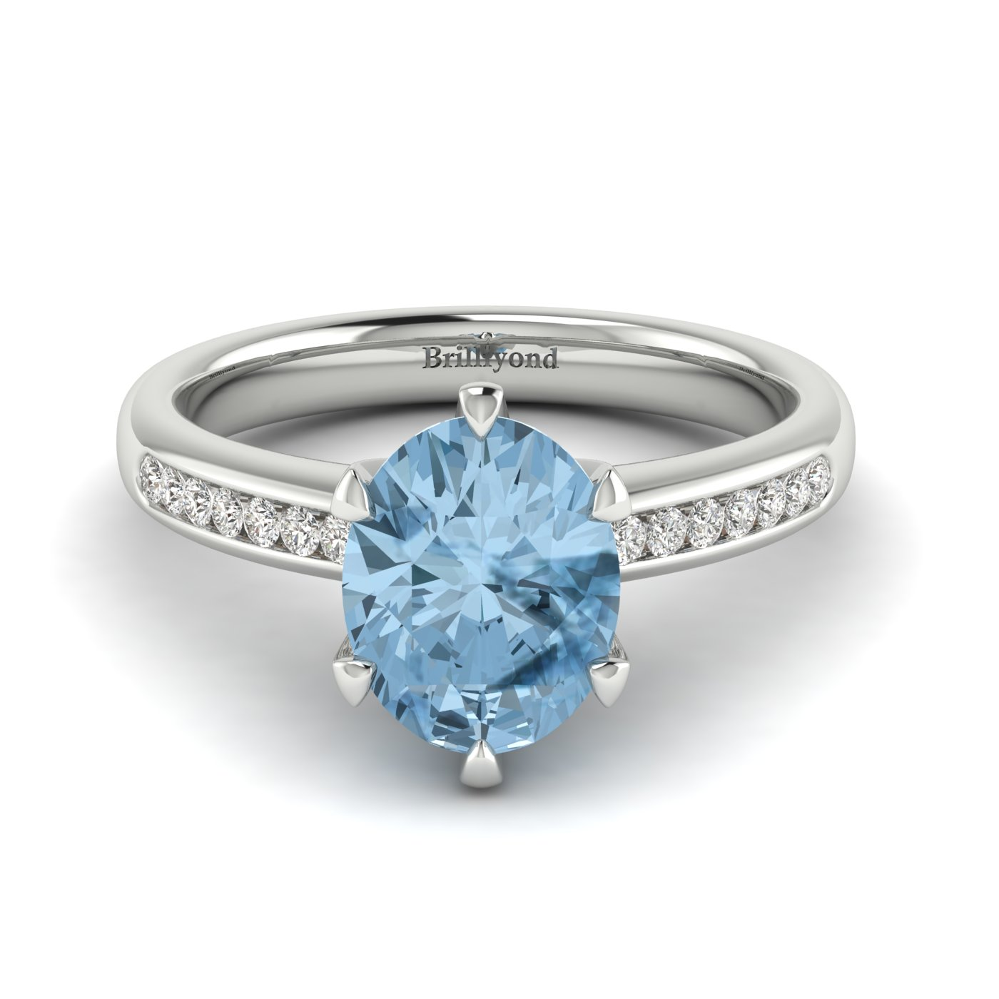 Aquamarine White Gold Oval Engagement Ring Nymph_image2