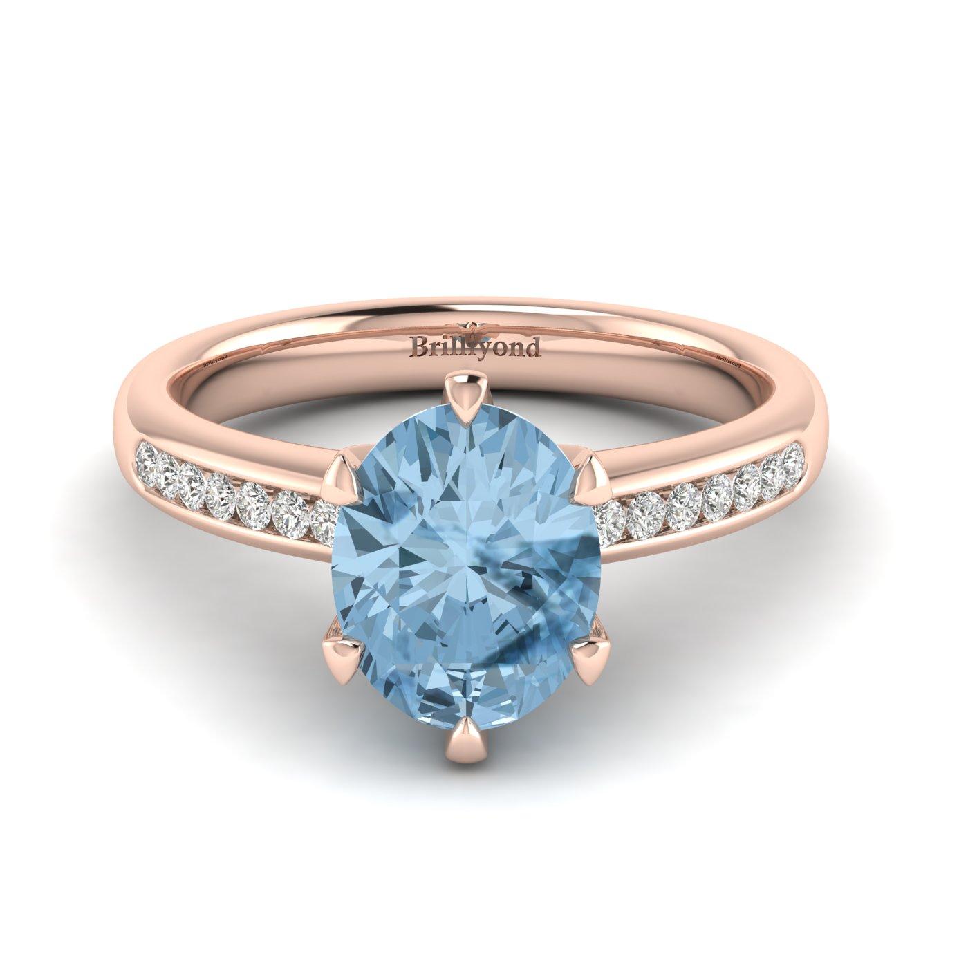 Aquamarine Rose Gold Oval Engagement Ring Nymph_image1