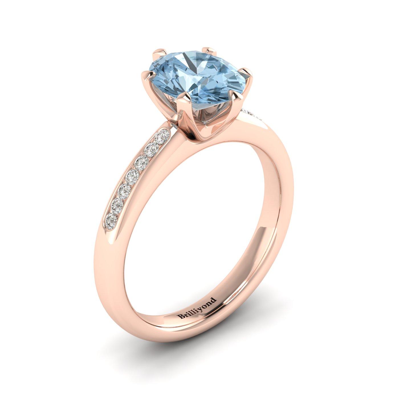 Aquamarine Rose Gold Oval Engagement Ring Nymph_image2