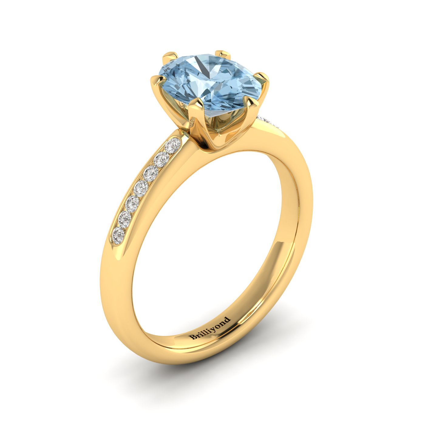 Aquamarine Yellow Gold Oval Engagement Ring Nymph_image1